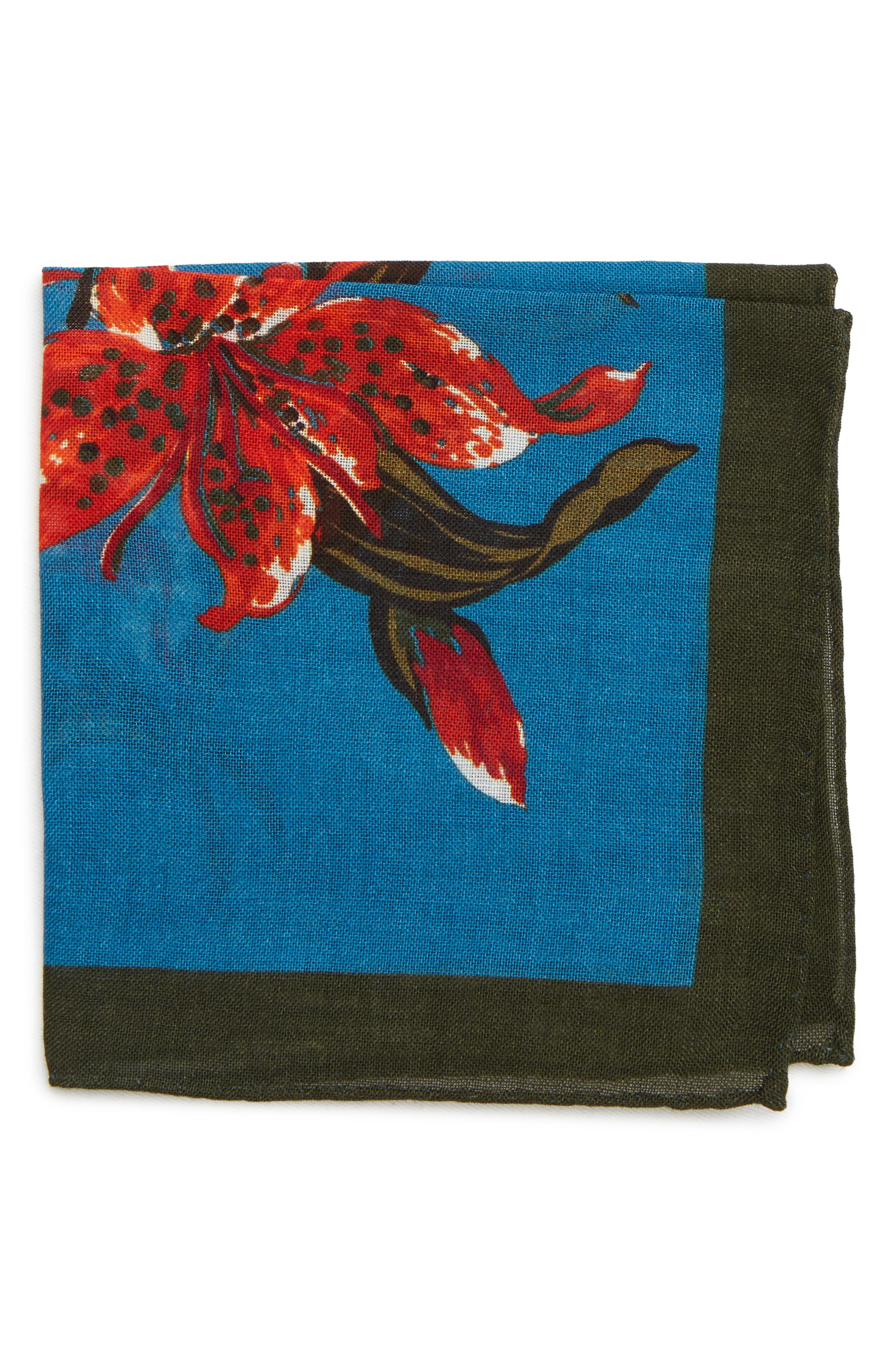 Floral Wool Pocket Square,                         Main,                         color, FLORAL BLUE