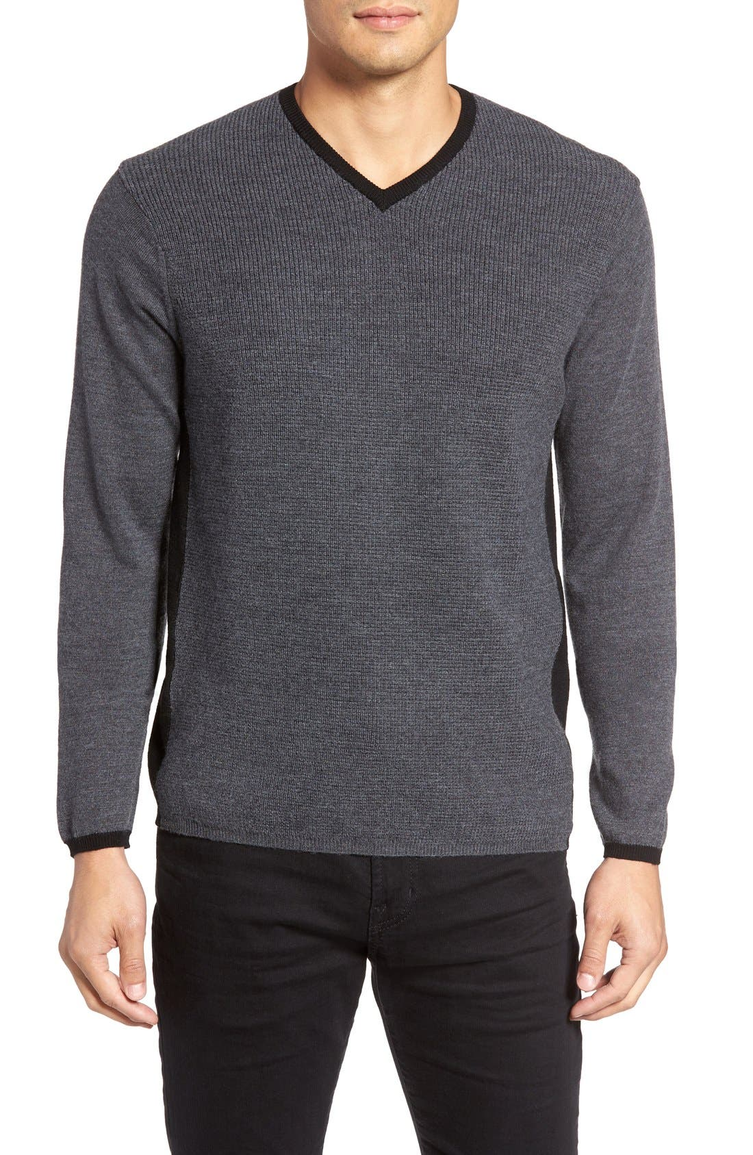 V-Neck Colorblock Merino Wool Pullover,                             Main thumbnail 1, color,                             025