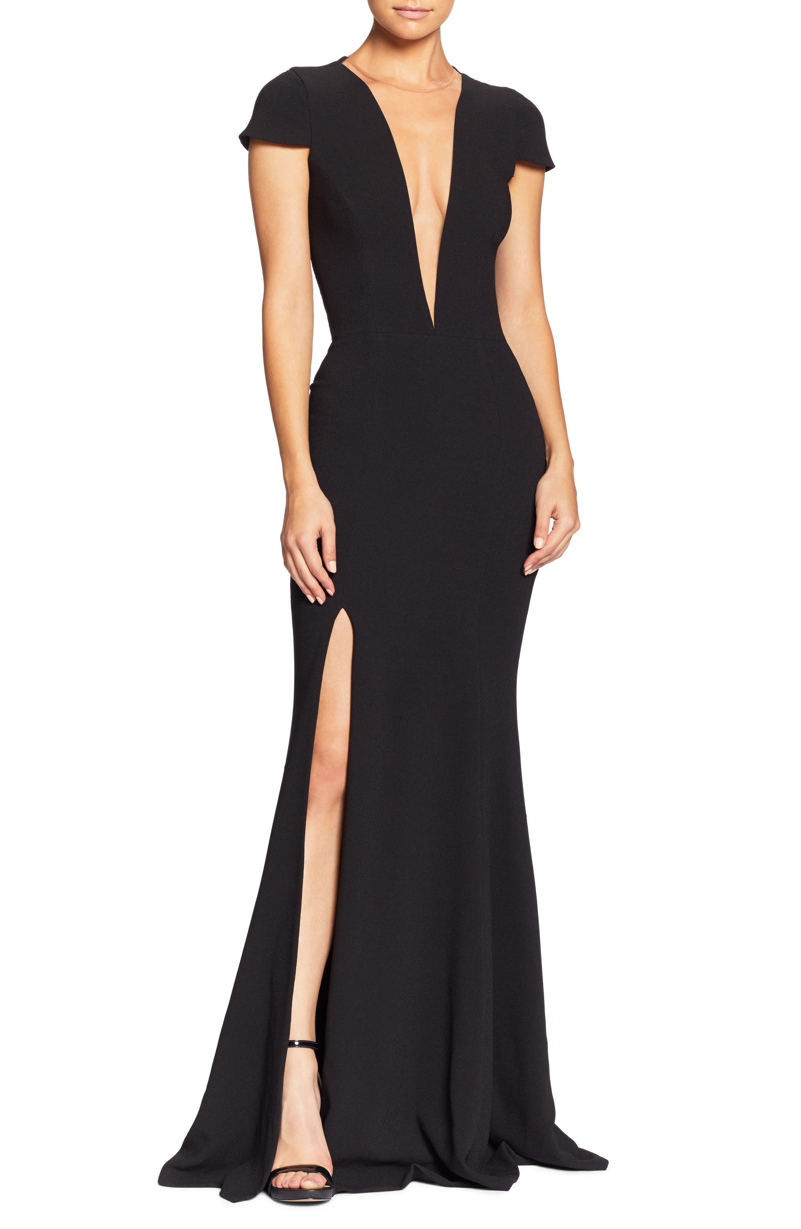 Leah Illusion Inset Crepe Gown,                         Main,                         color, BLACK