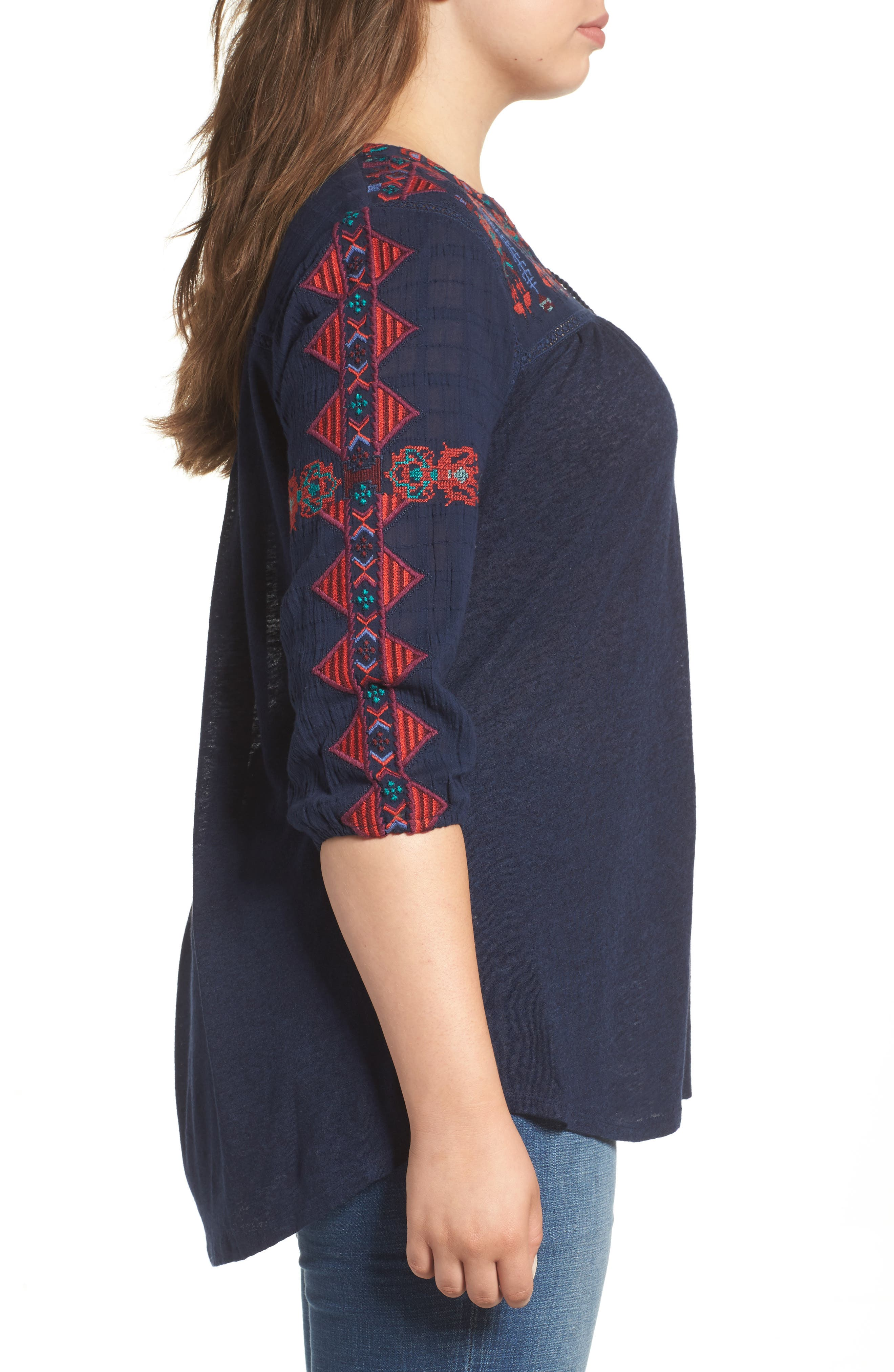 Embroidered Lace-Up Top,                             Alternate thumbnail 3, color,                             410