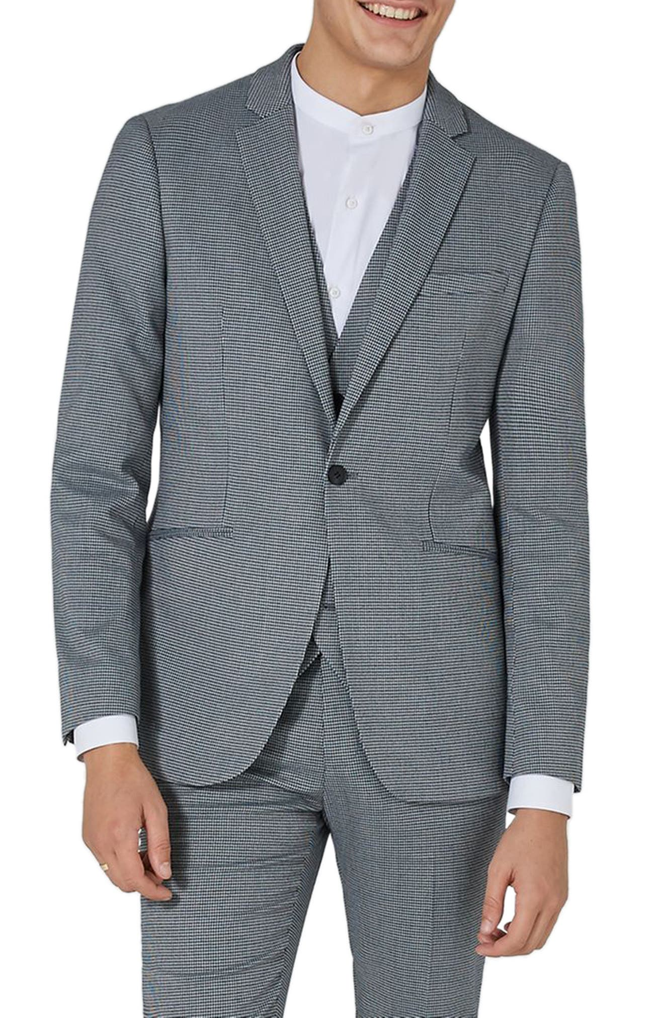 Skinny Fit Houndstooth Suit Jacket,                             Main thumbnail 1, color,