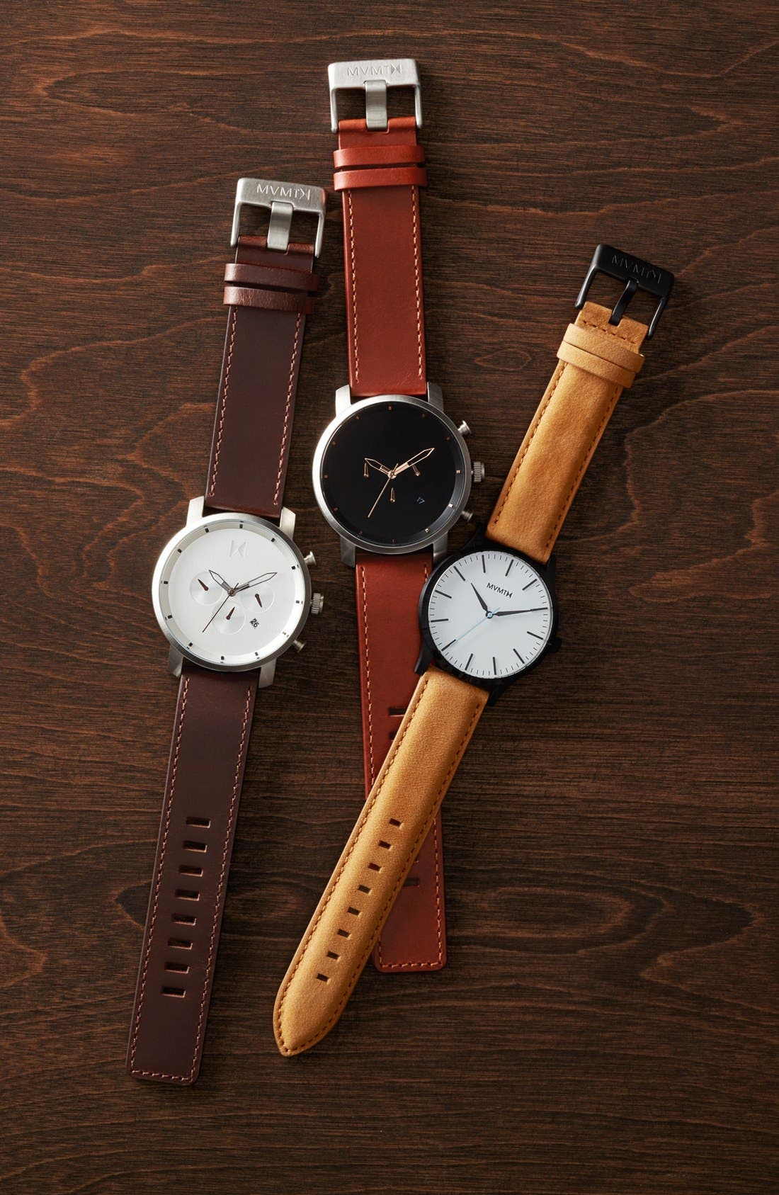 Chronograph Leather Strap Watch, 45mm,                             Alternate thumbnail 4, color,                             201