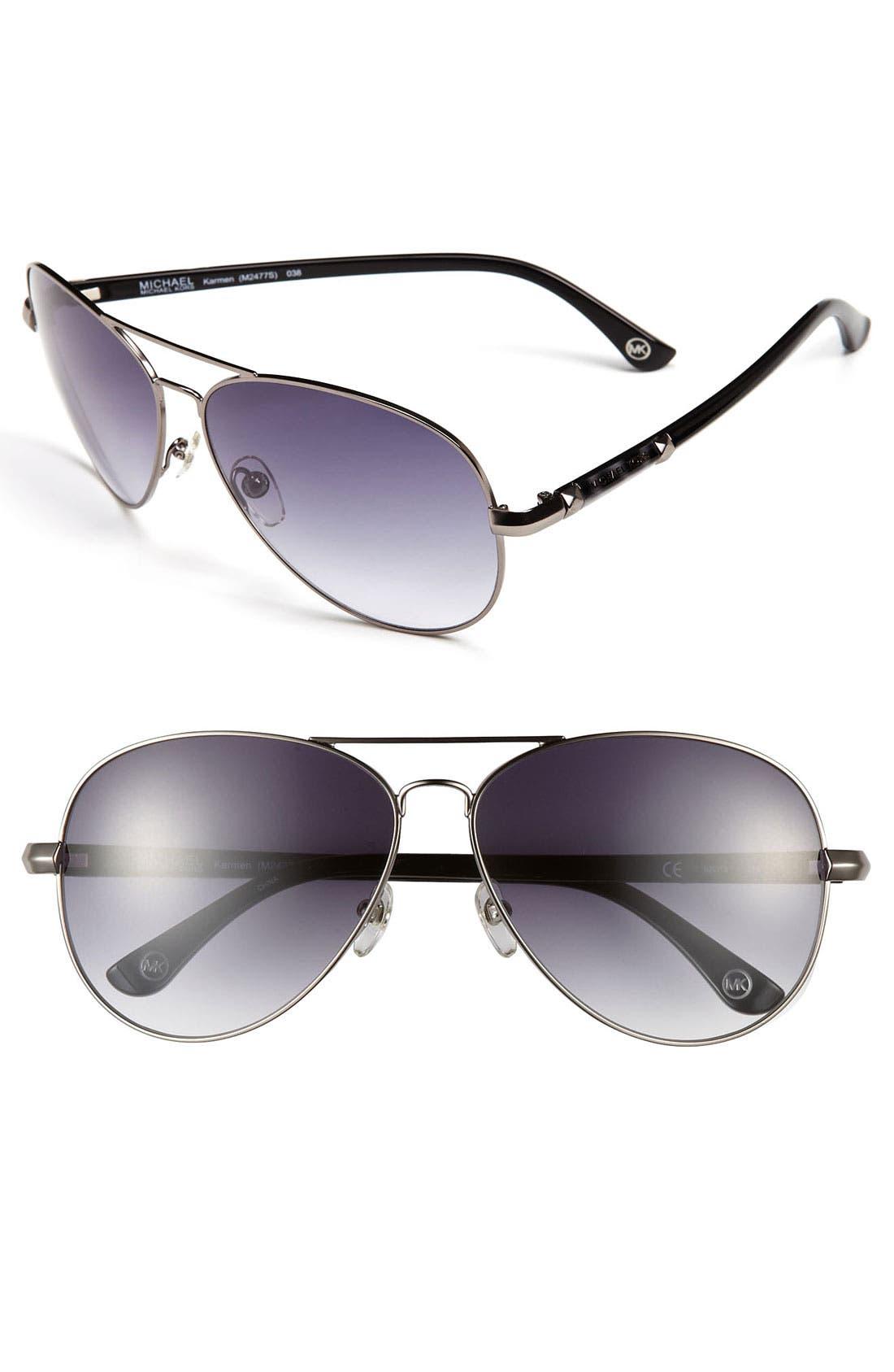 62mm Metal Aviator Sunglasses,                             Main thumbnail 1, color,