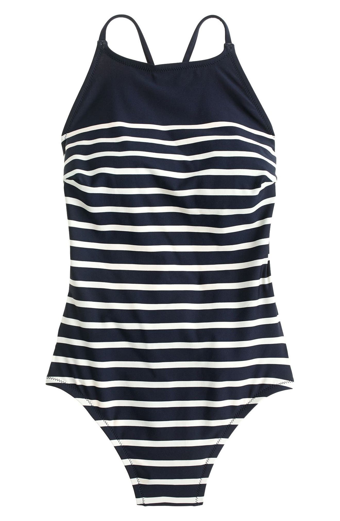 Nautical Stripe One-Piece Swimsuit,                             Alternate thumbnail 3, color,                             406