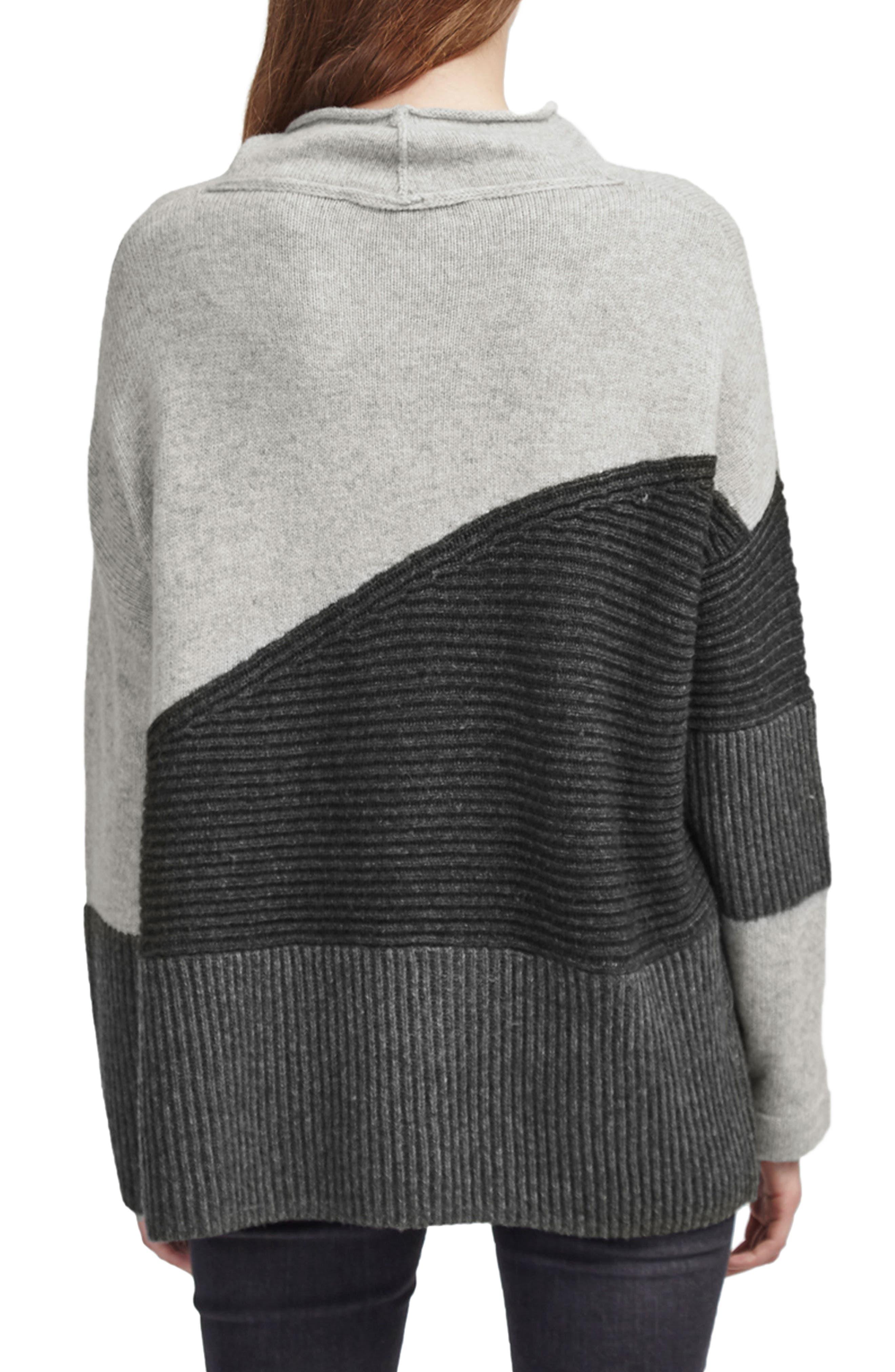 Patchwork Mock Neck Sweater,                             Alternate thumbnail 2, color,                             GREY MELANGE MULTI