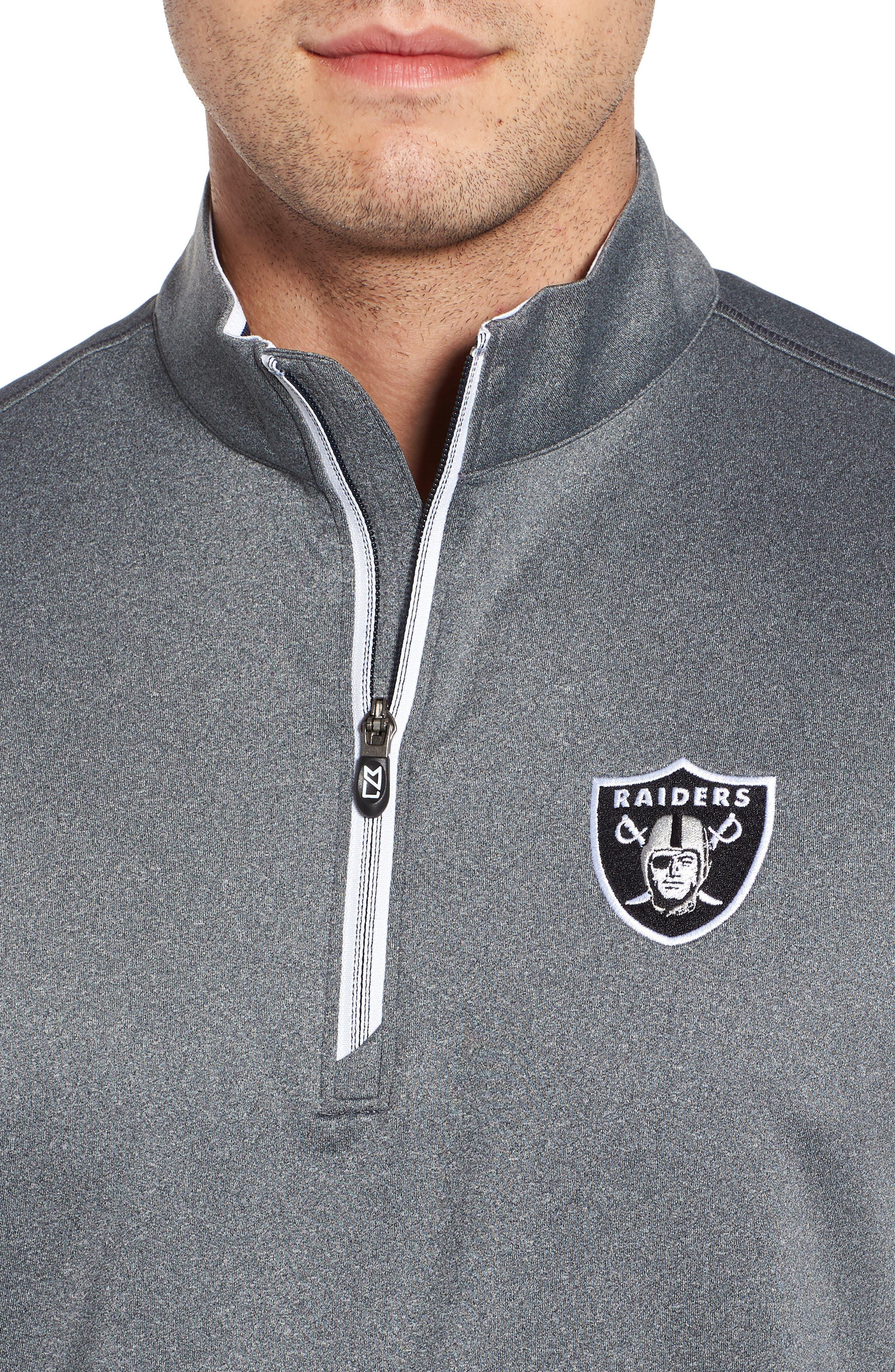 Endurance Oakland Raiders Regular Fit Pullover,                             Alternate thumbnail 4, color,                             CHARCOAL HEATHER