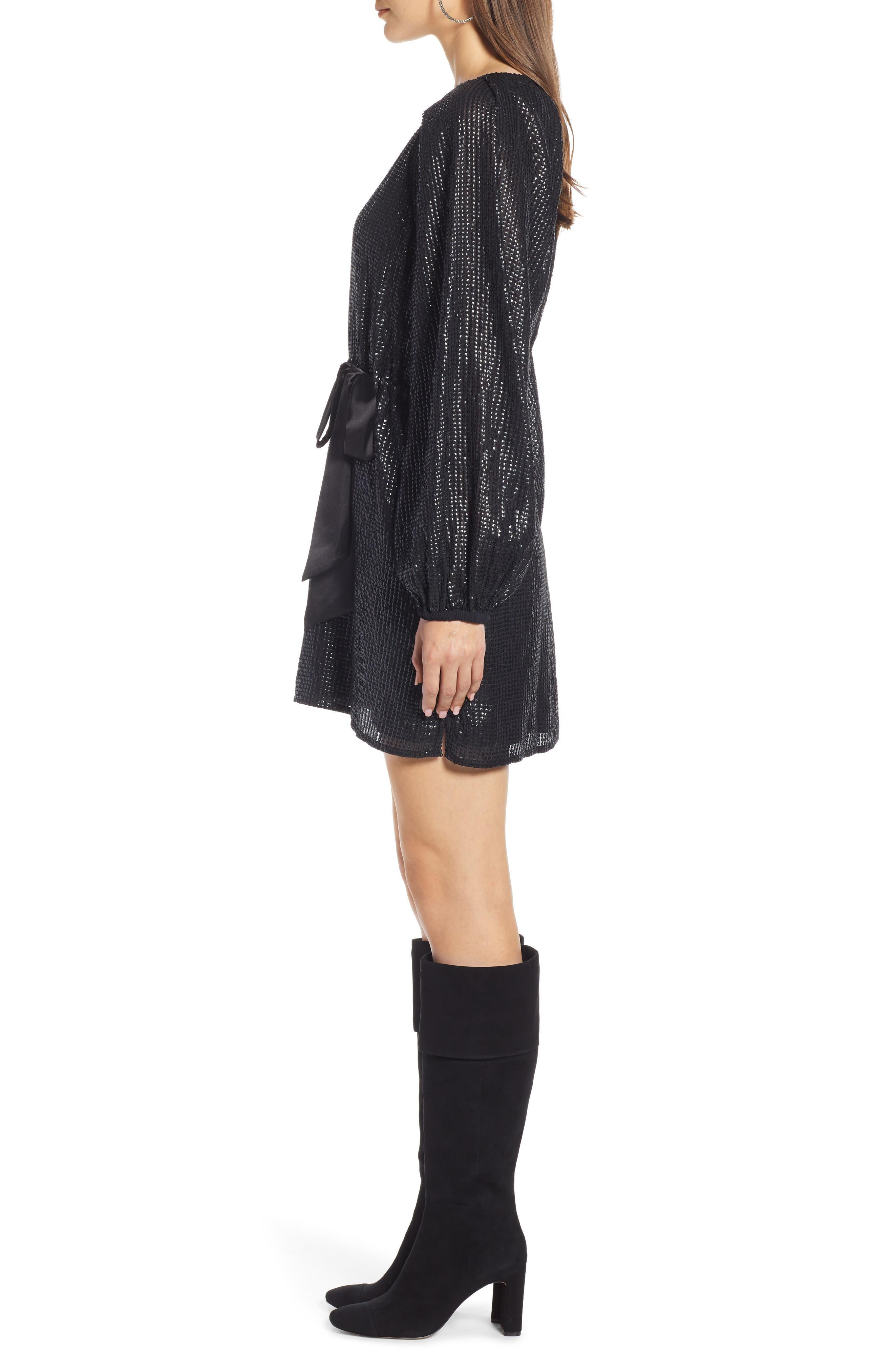 Sequin Raglan Minidress,                             Alternate thumbnail 4, color,                             BLACK
