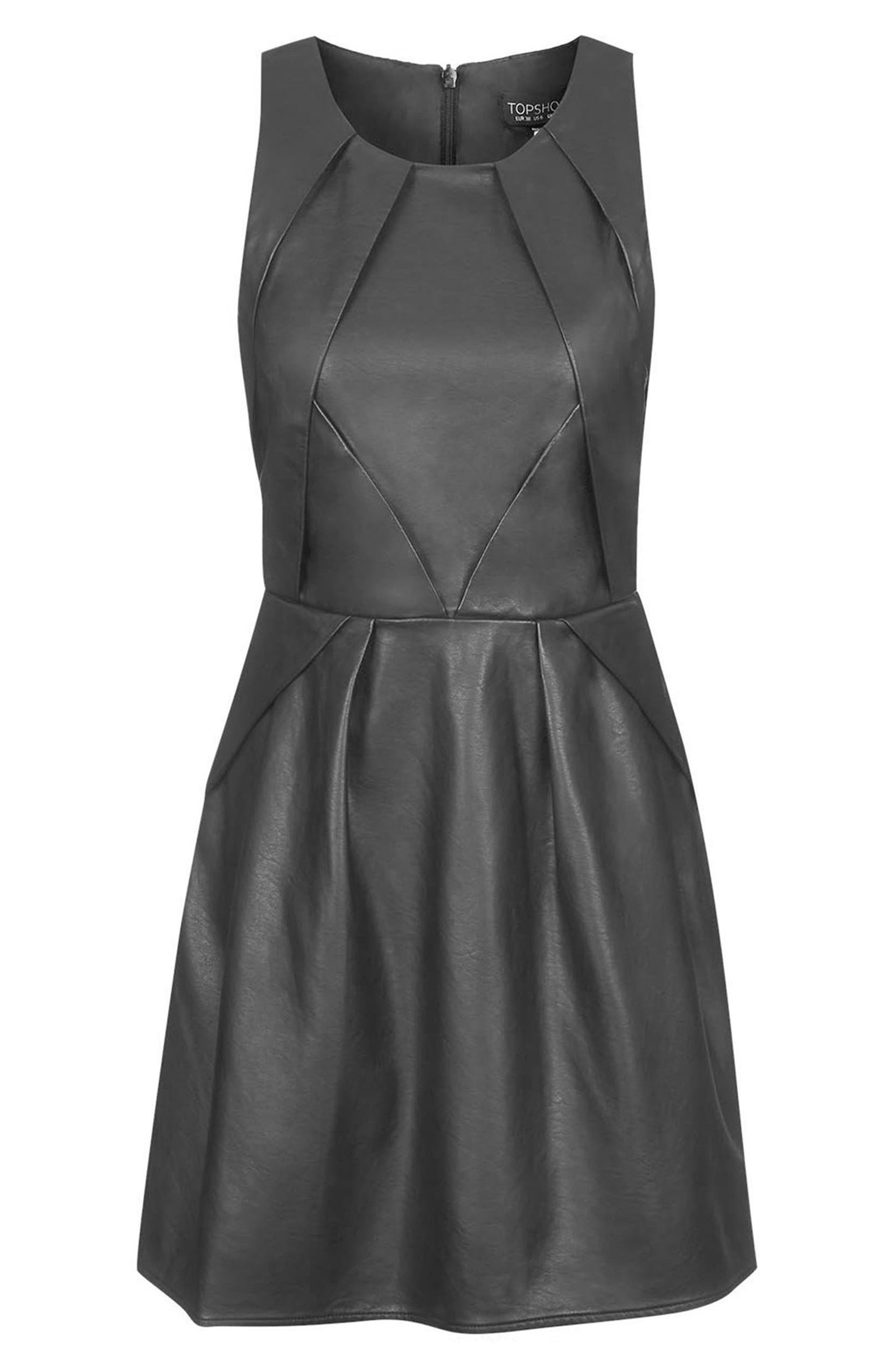 Topshop  Tulisa  Faux Leather Skater Dress  20ad16290
