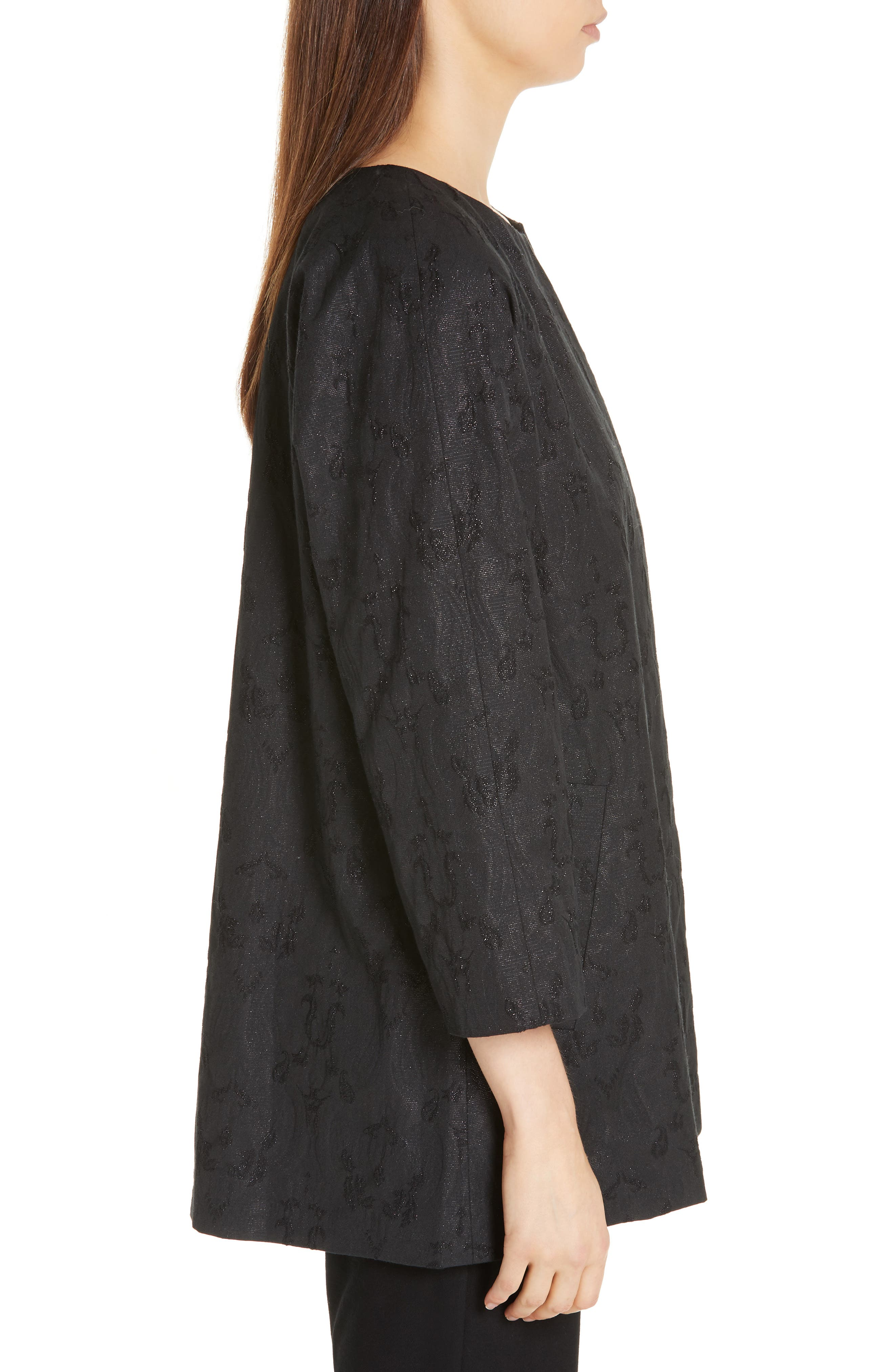 EILEEN FISHER, Metallic Jacquard Collarless Jacket, Alternate thumbnail 4, color, BLACK