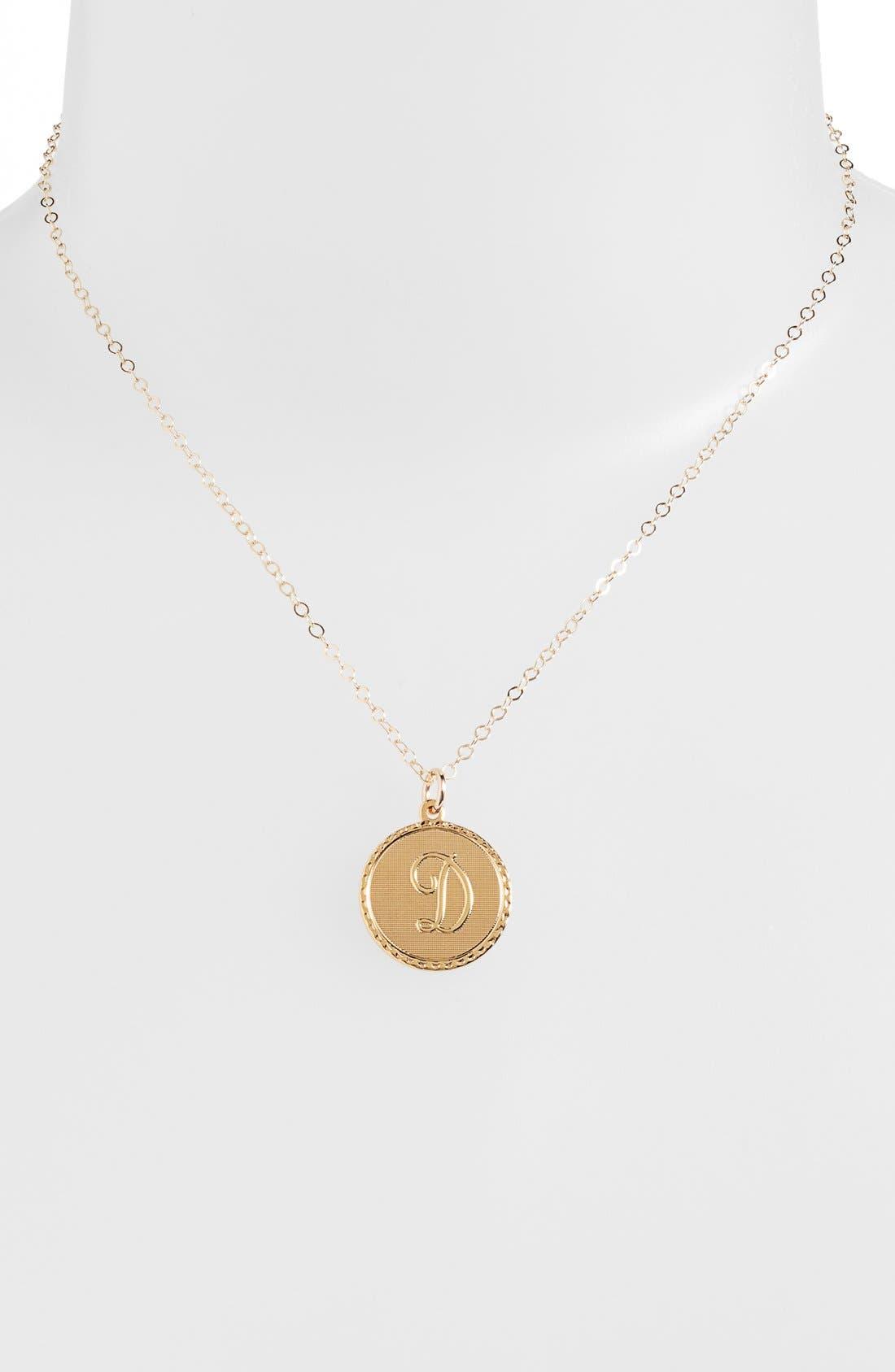 'Dalton' Initial Pendant Necklace,                             Alternate thumbnail 2, color,                             GOLD - D