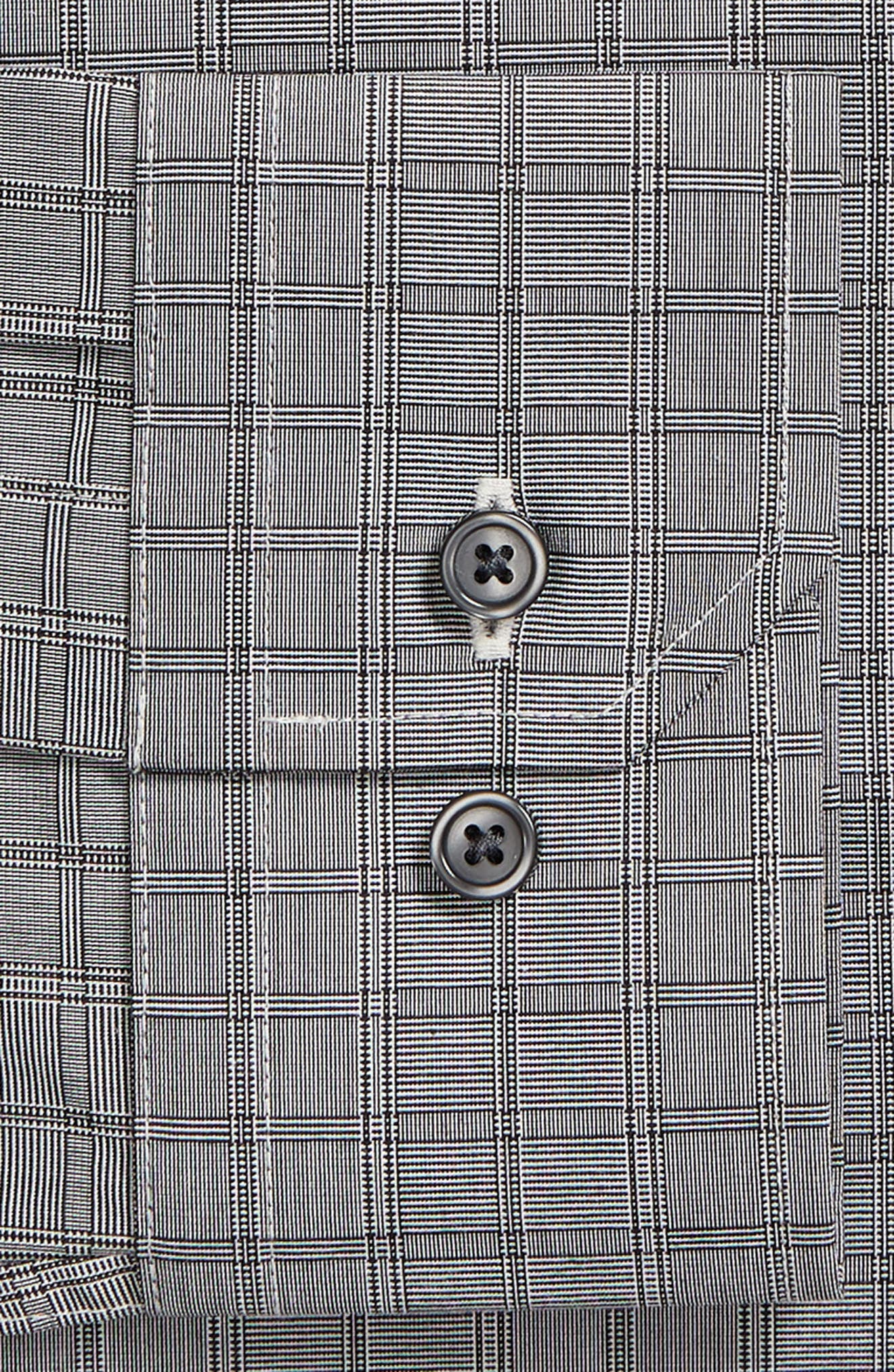 Trim Fit Stretch Non-Iron Check Dress Shirt,                             Alternate thumbnail 6, color,                             BLACK METEORITE