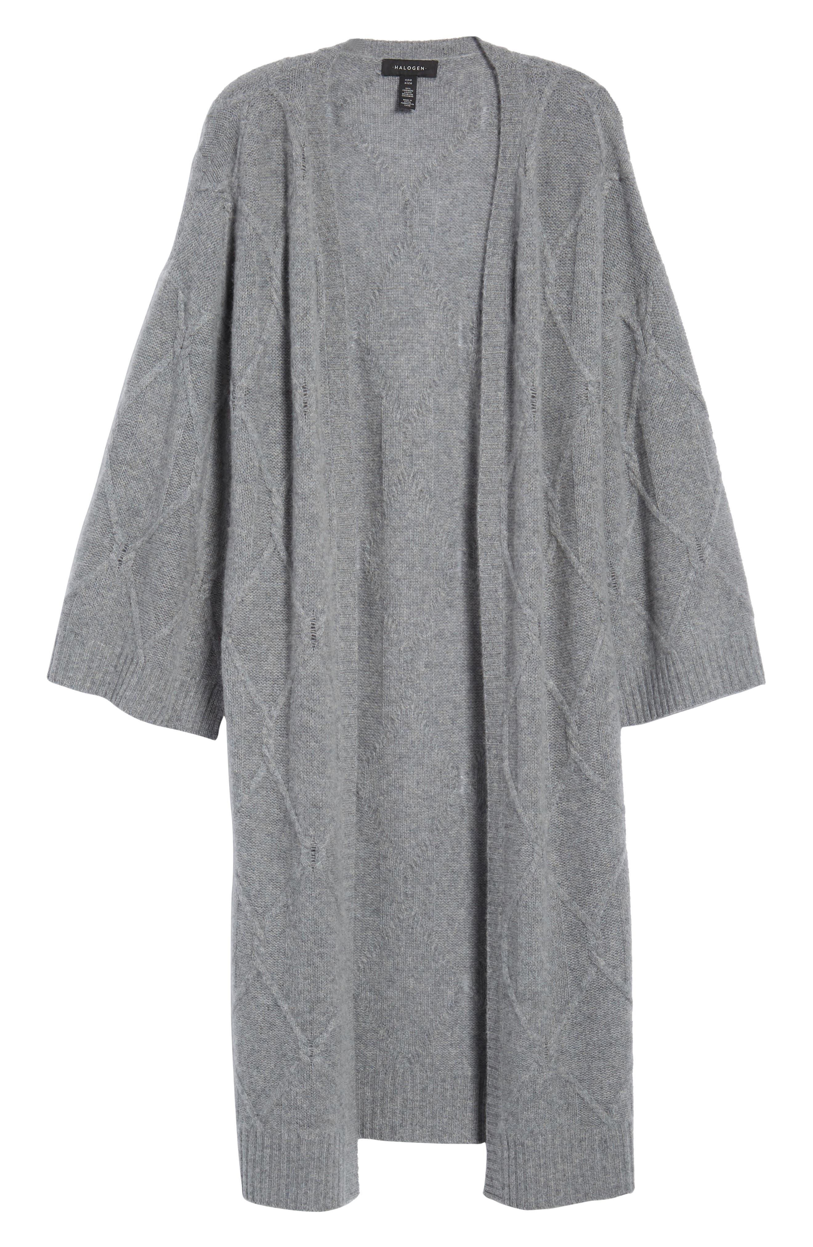 Cable Knit Long Cashmere Cardigan,                             Alternate thumbnail 6, color,                             GREY MEDIUM HEATHER