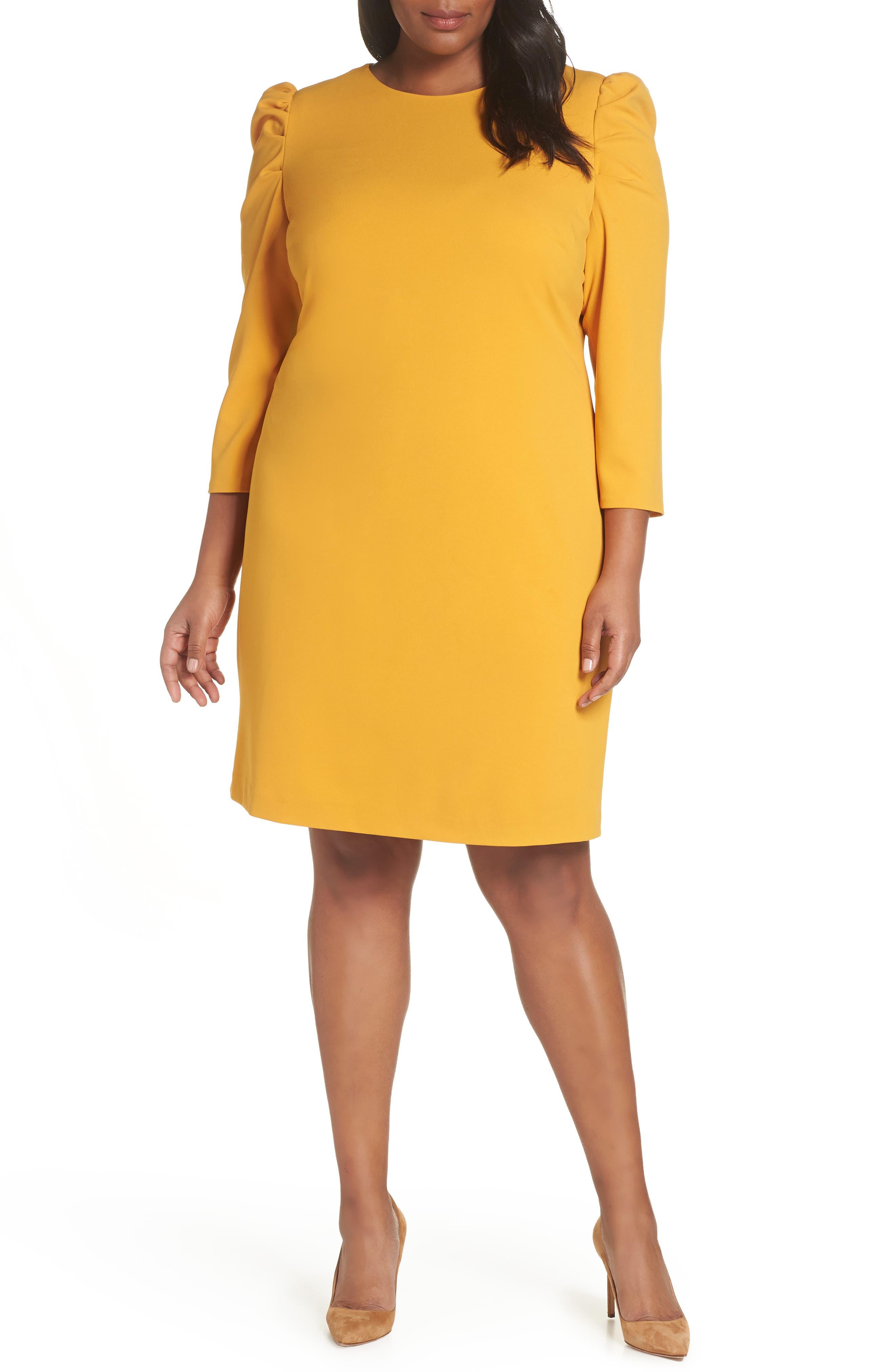 Plus Size Vince Camuto Puff Shoulder Shift Dress, Yellow