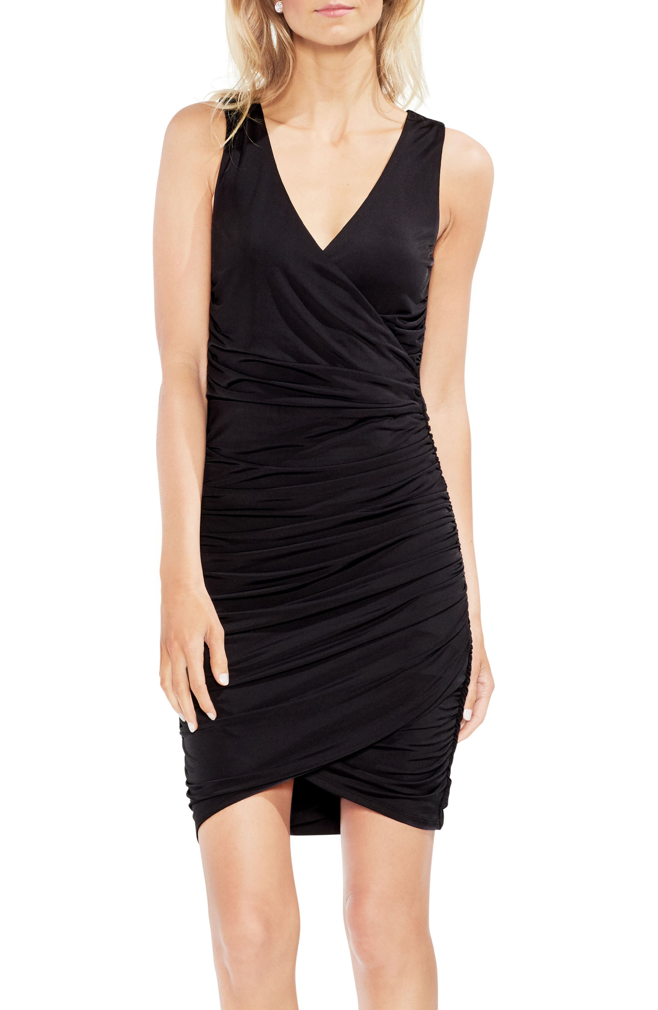 Ruched Liquid Knit Body-Con Dress,                             Main thumbnail 1, color,                             001