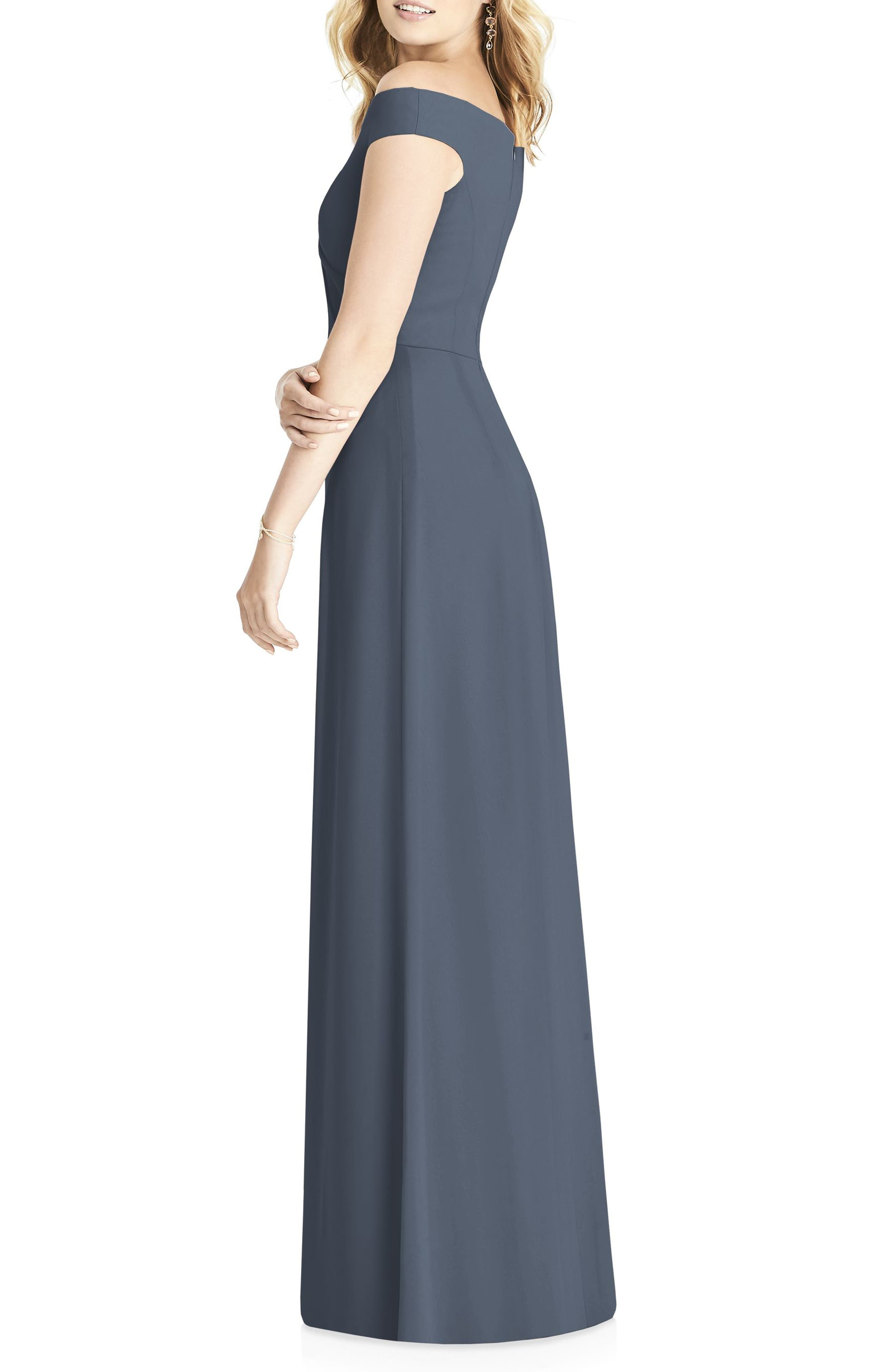 Off the Shoulder Chiffon Gown,                             Alternate thumbnail 2, color,                             SILVERSTONE