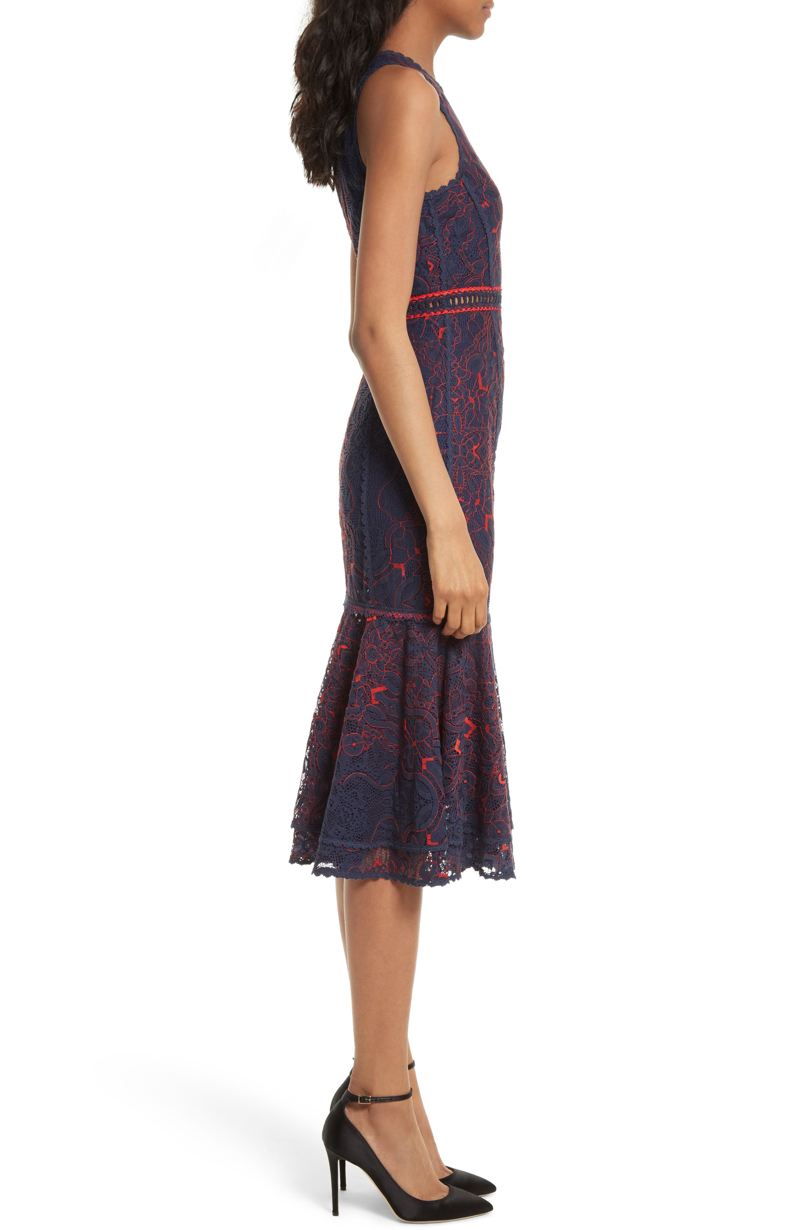 Lace Ruffle Hem Dress,                             Alternate thumbnail 3, color,                             497