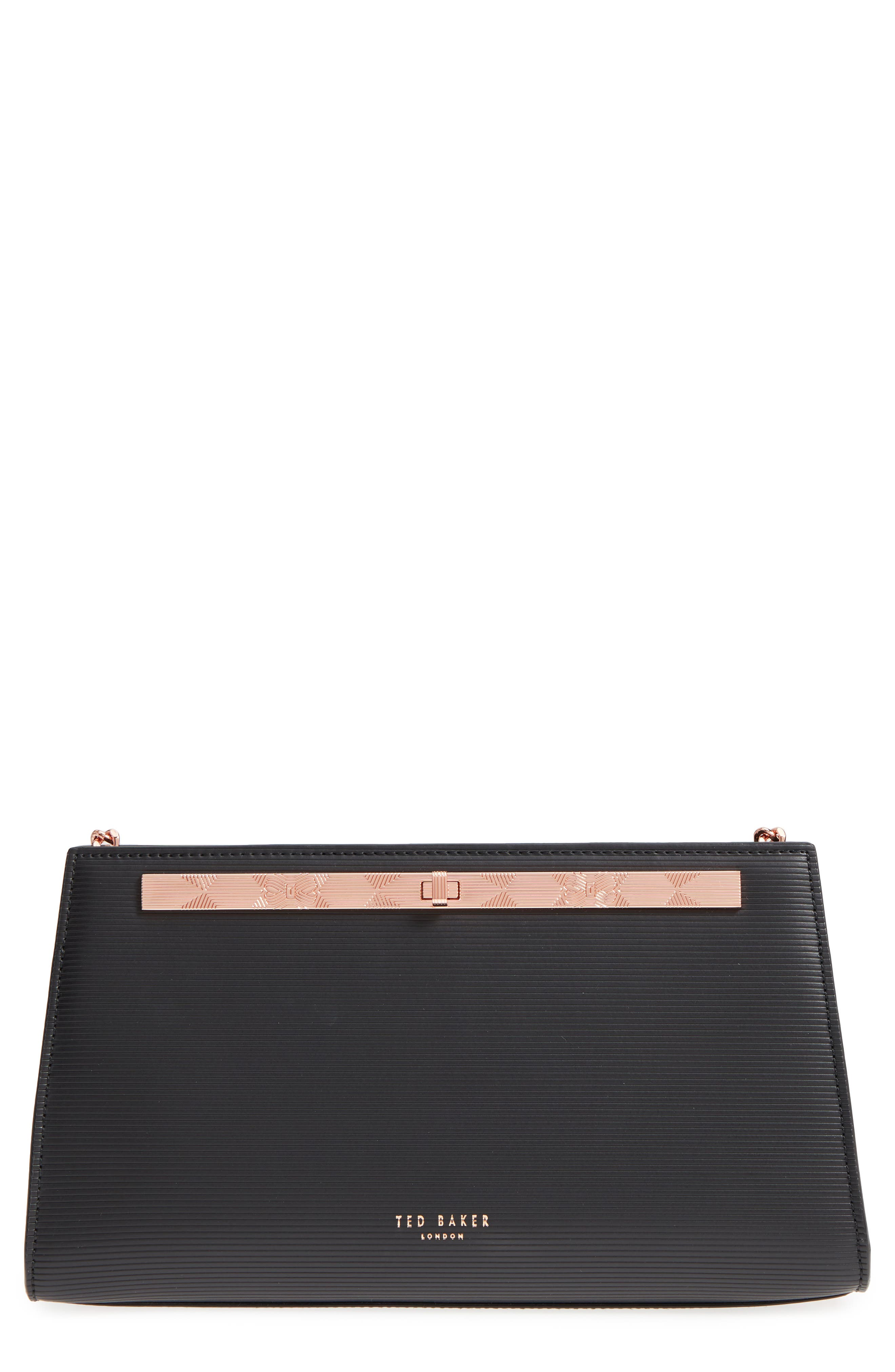 Ammira Plissé Leather Clutch,                         Main,                         color, 001