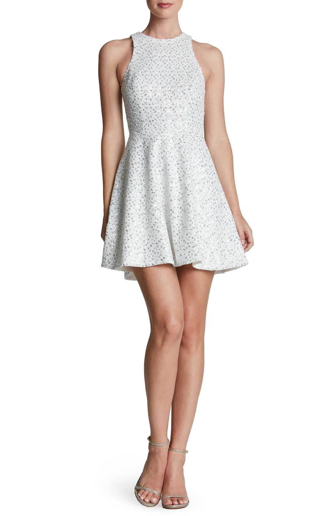 'Ginger' Sequin Fit & Flare Dress,                             Main thumbnail 1, color,                             153