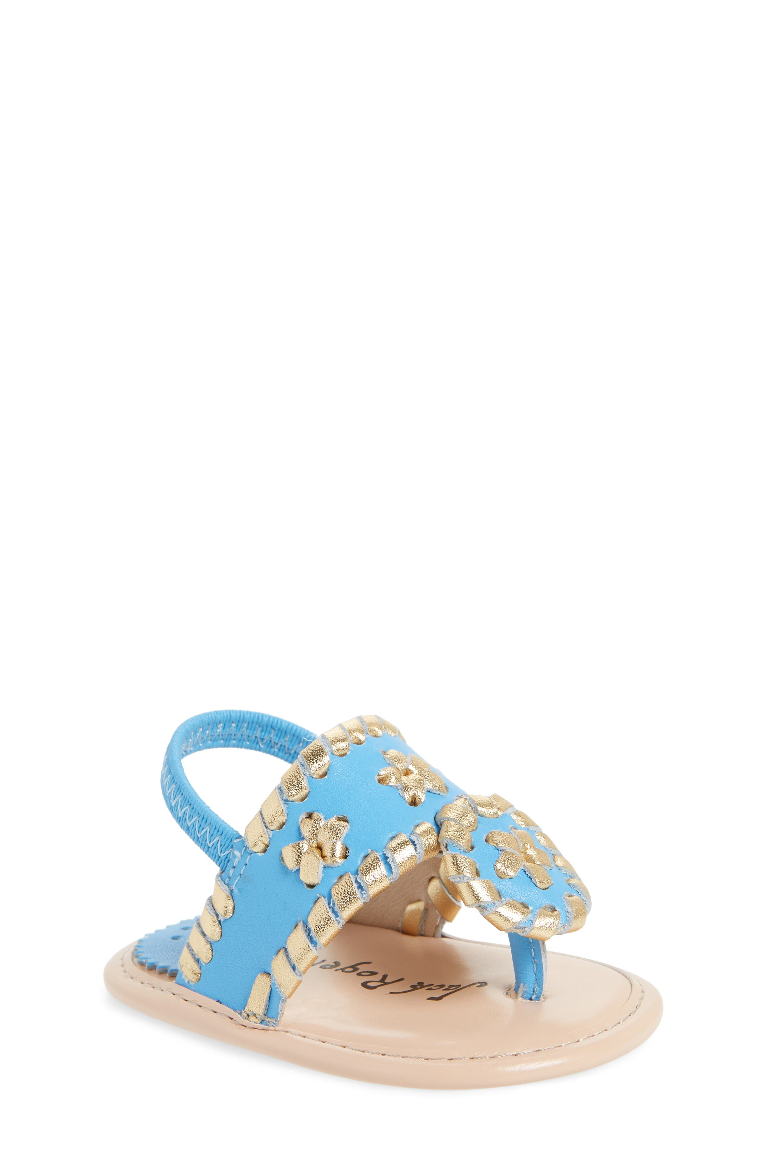 Hollis Sandal,                         Main,                         color, FRENCH BLUE/ GOLD LEATHER
