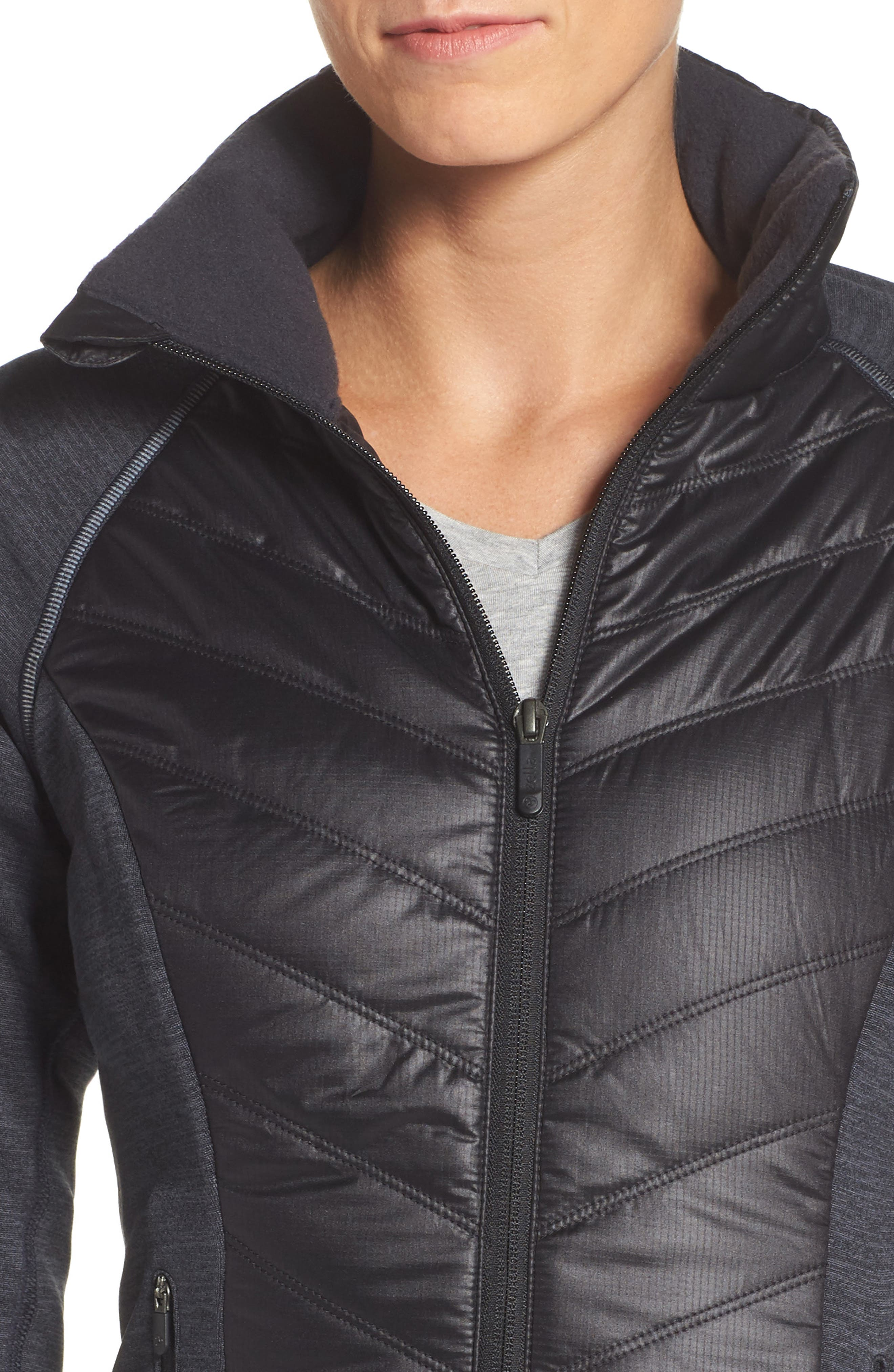 Zelfusion Reflective Quilted Jacket,                             Alternate thumbnail 4, color,                             001