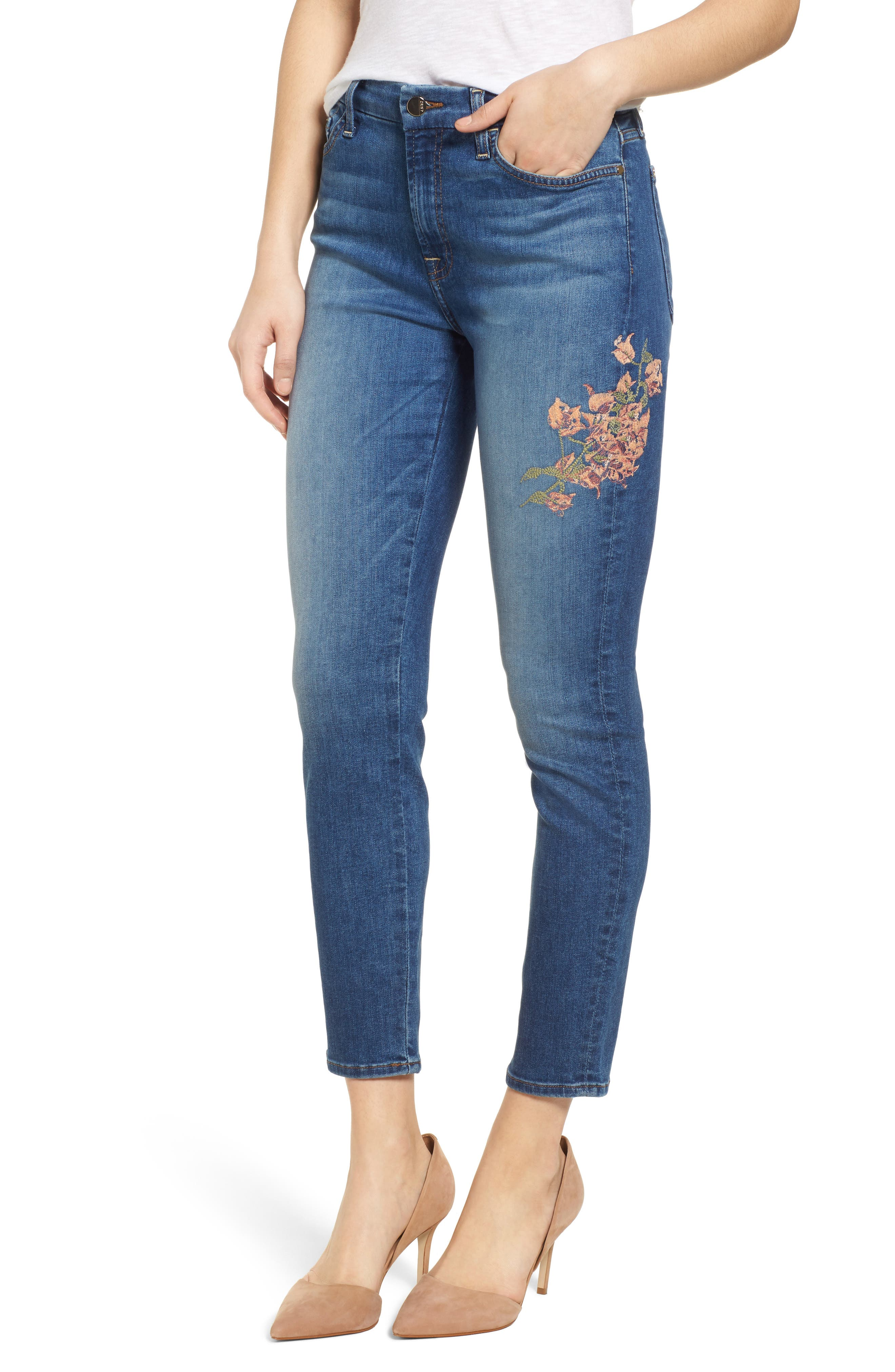 Embroidered Ankle Skinny Jeans,                         Main,                         color, 401