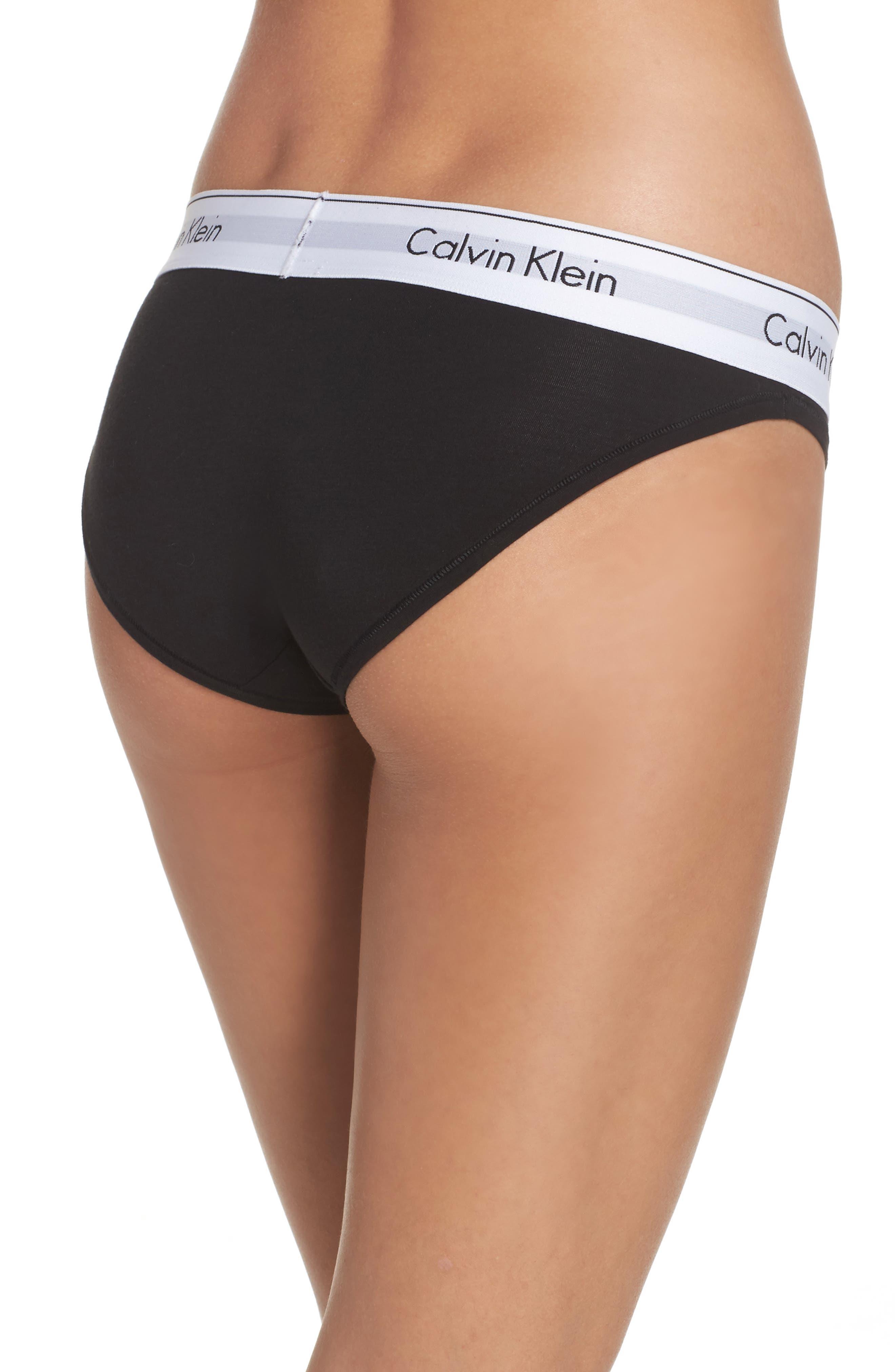 'Modern Cotton Collection' Cotton Blend Bikini,                             Alternate thumbnail 3, color,                             BLACK