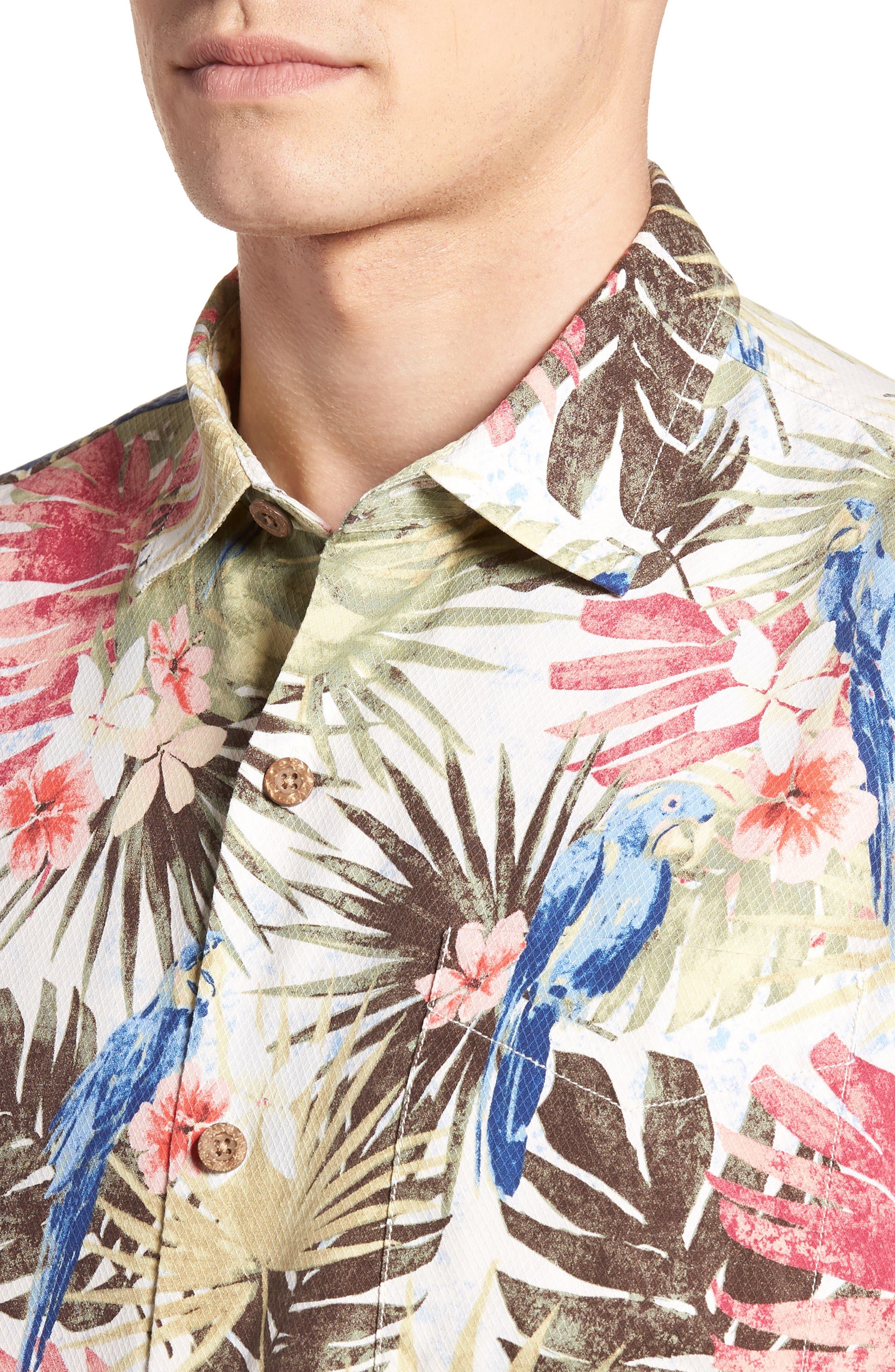 Marino Paradise Silk Camp Shirt,                             Alternate thumbnail 4, color,                             100