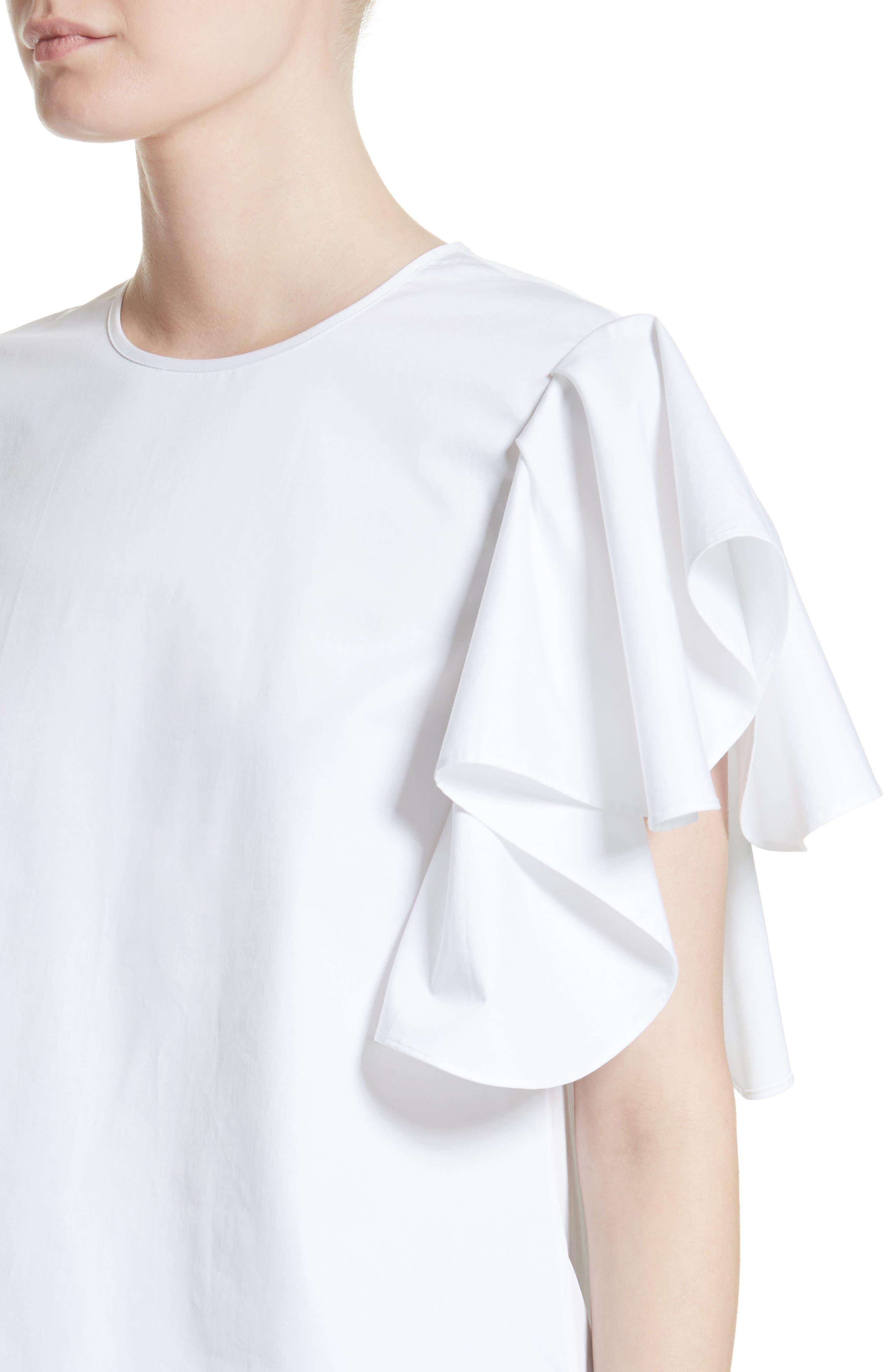 Ruffle Sleeve Cotton Poplin Top,                             Alternate thumbnail 4, color,                             100