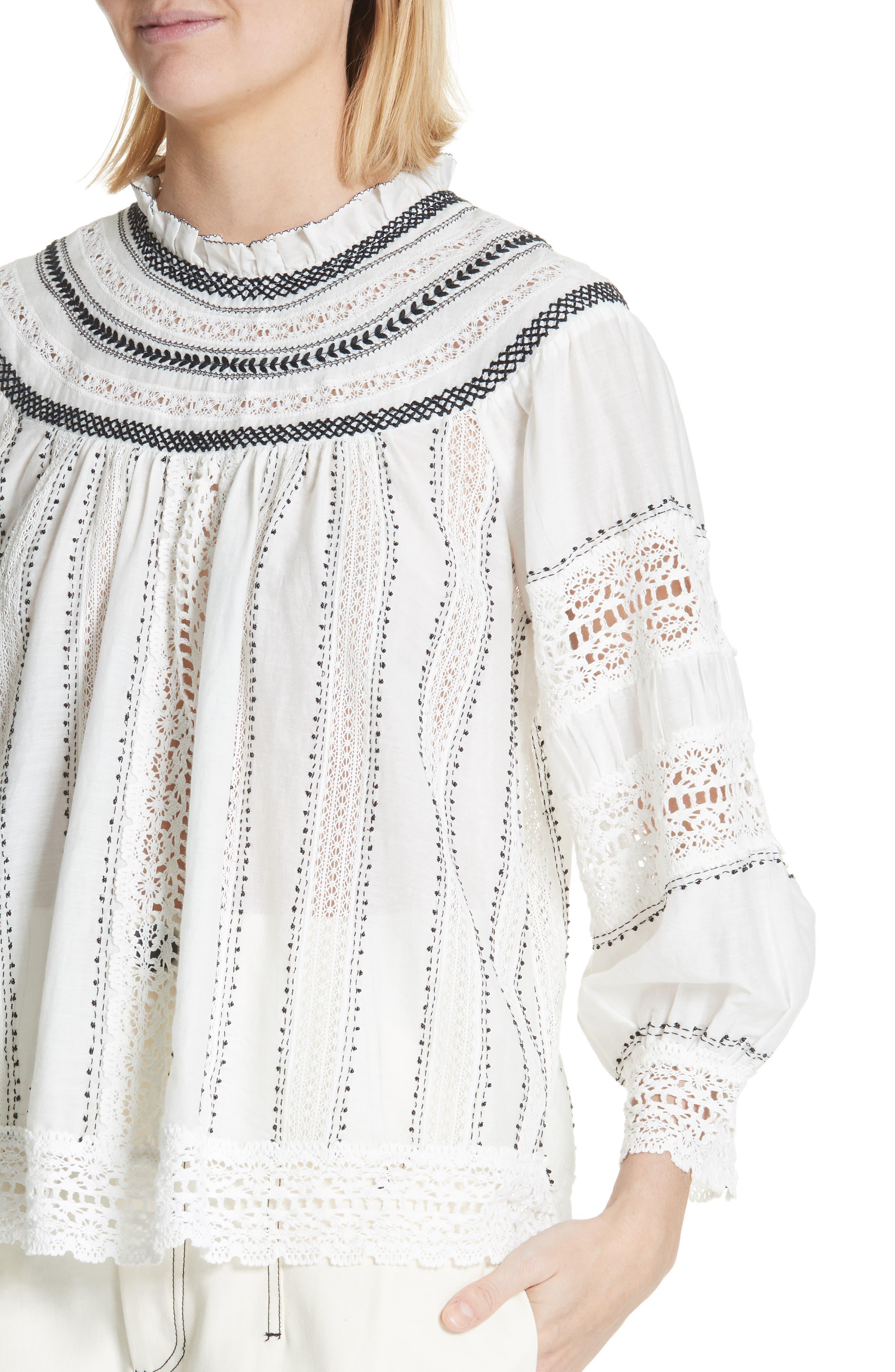 SEA,                             Louisa Crochet Peasant Top,                             Alternate thumbnail 4, color,                             902