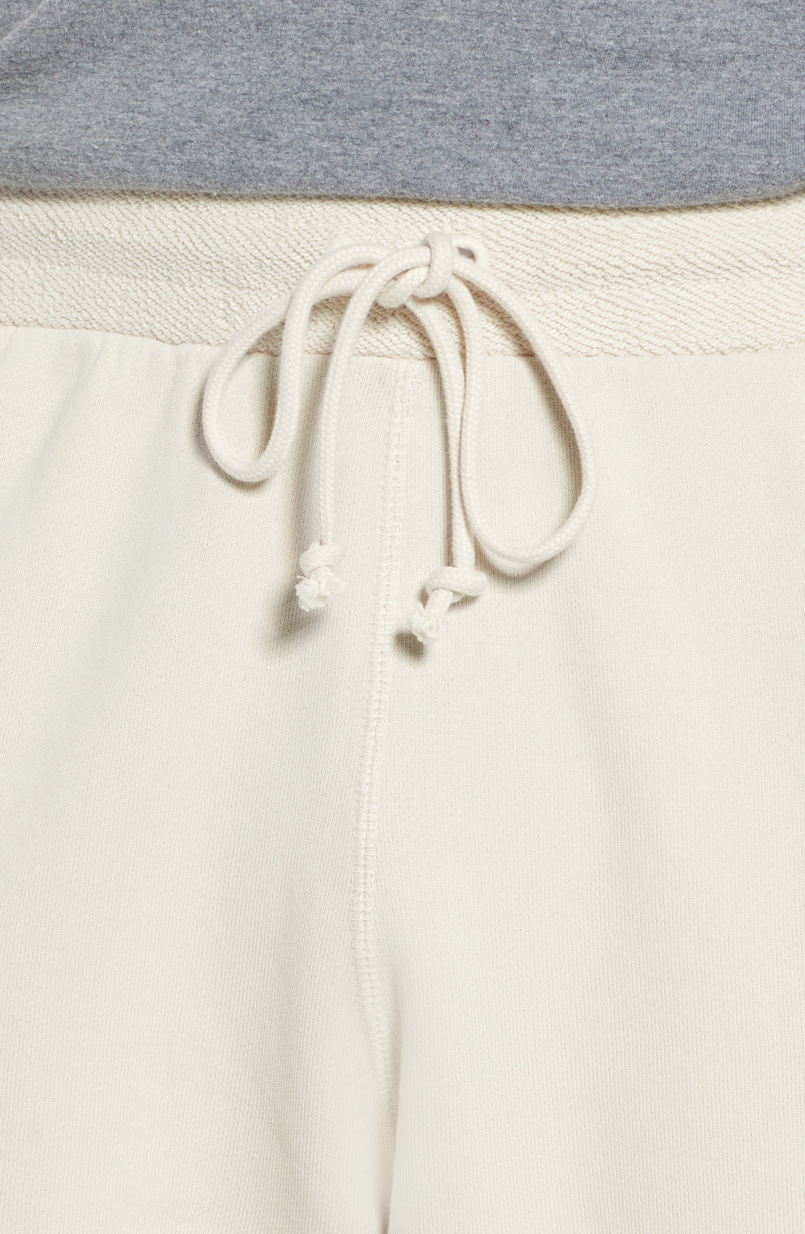 Washed Cotton Diamond Logo Shorts,                             Alternate thumbnail 4, color,                             LIGHT BONE