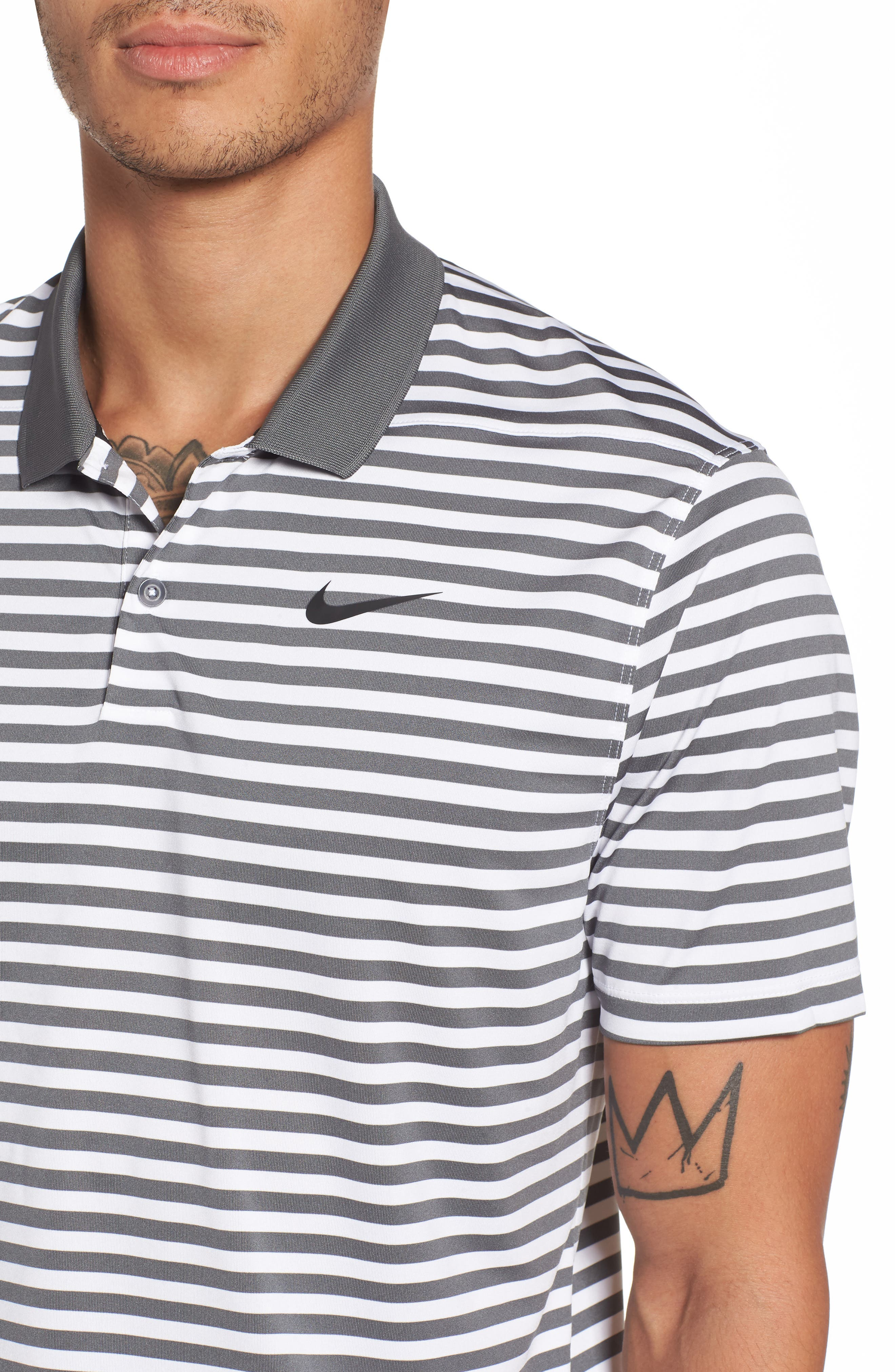 NIKE,                             Dry Victory Stripe Polo,                             Alternate thumbnail 4, color,                             021