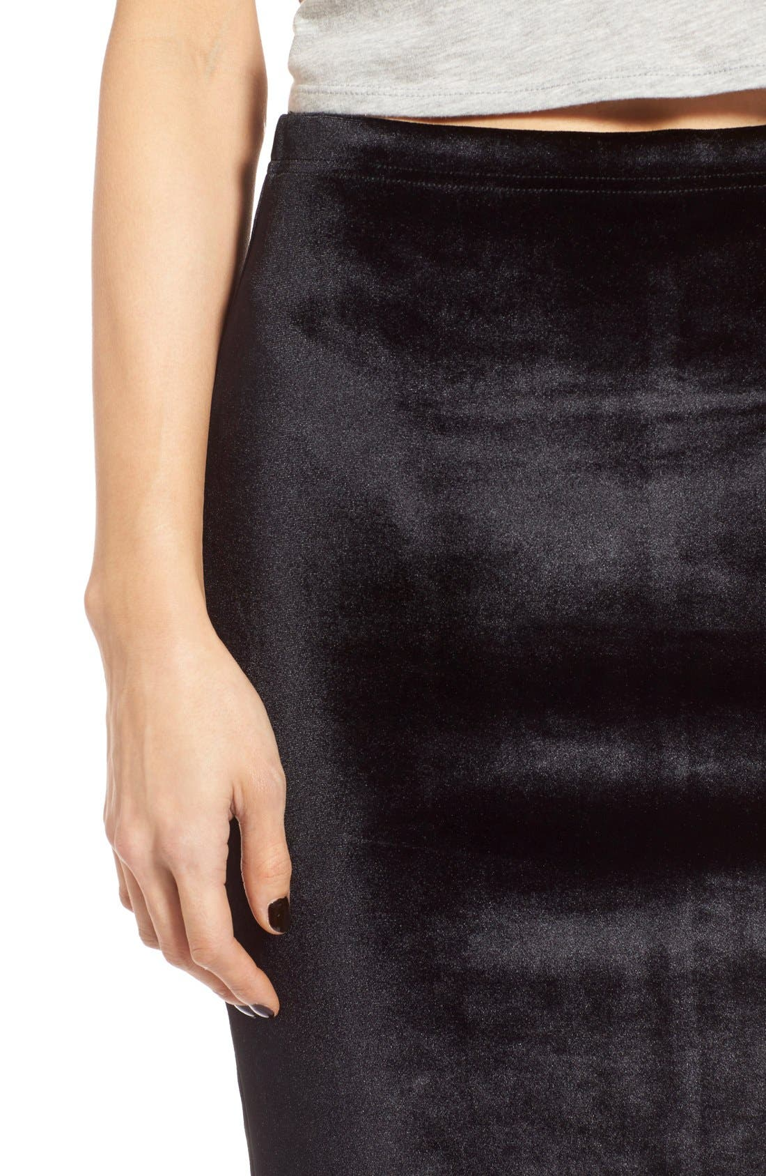 LEITH,                             Velour Pencil Skirt,                             Alternate thumbnail 3, color,                             001