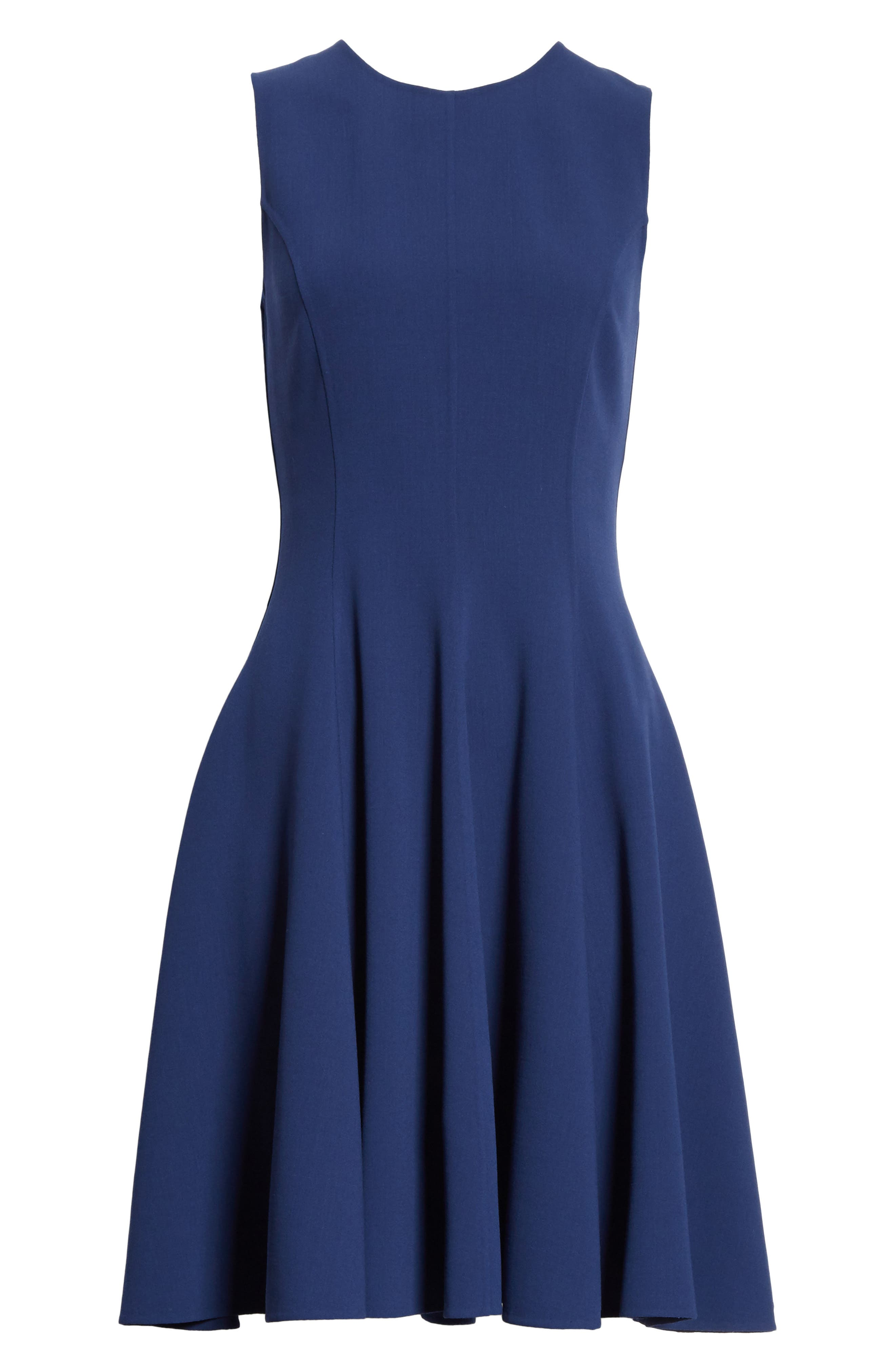 Stretch Wool Bell Dress,                             Alternate thumbnail 6, color,