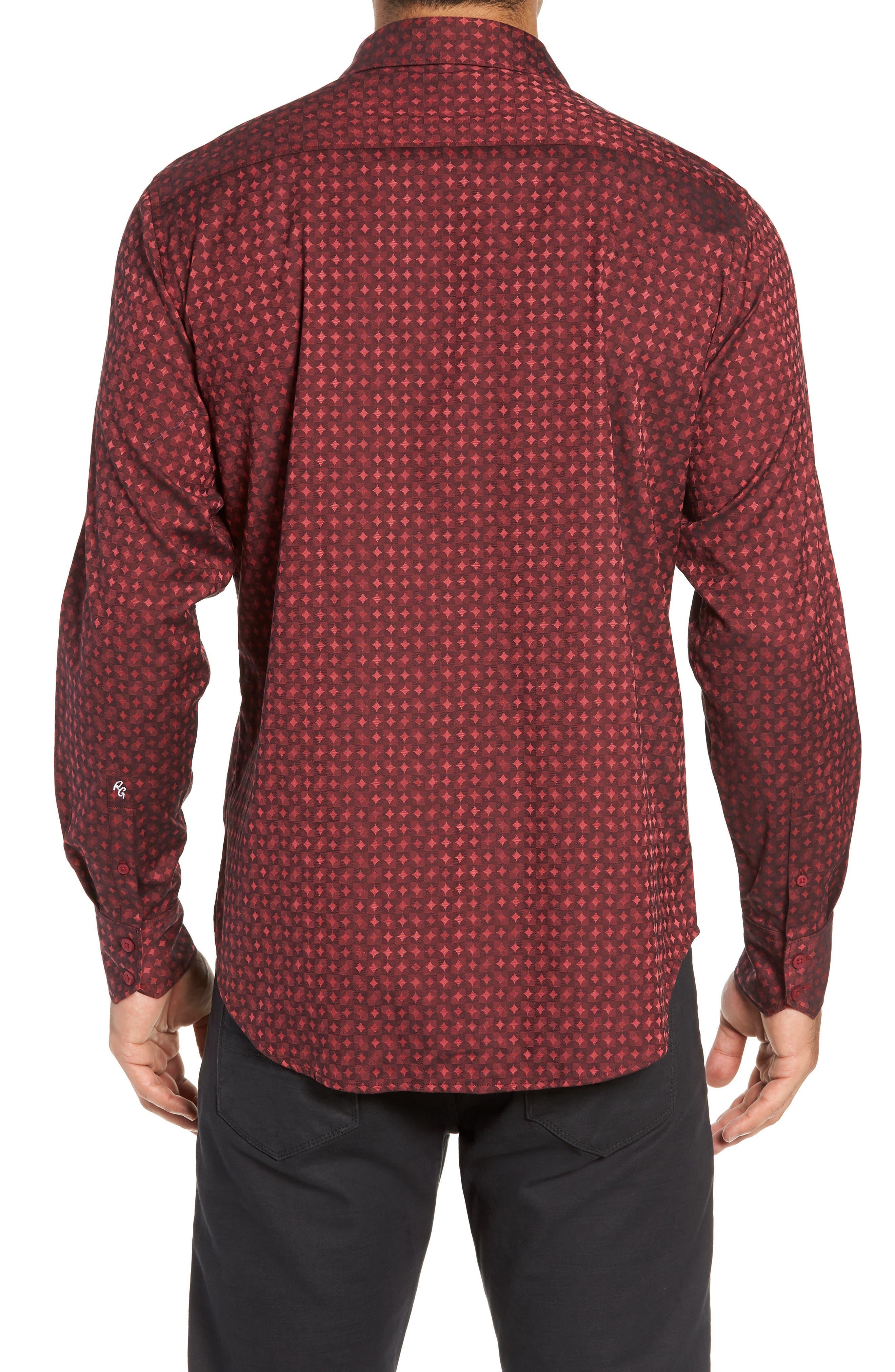 Harris Classic Fit Sport Shirt,                             Alternate thumbnail 3, color,                             BURGUNDY