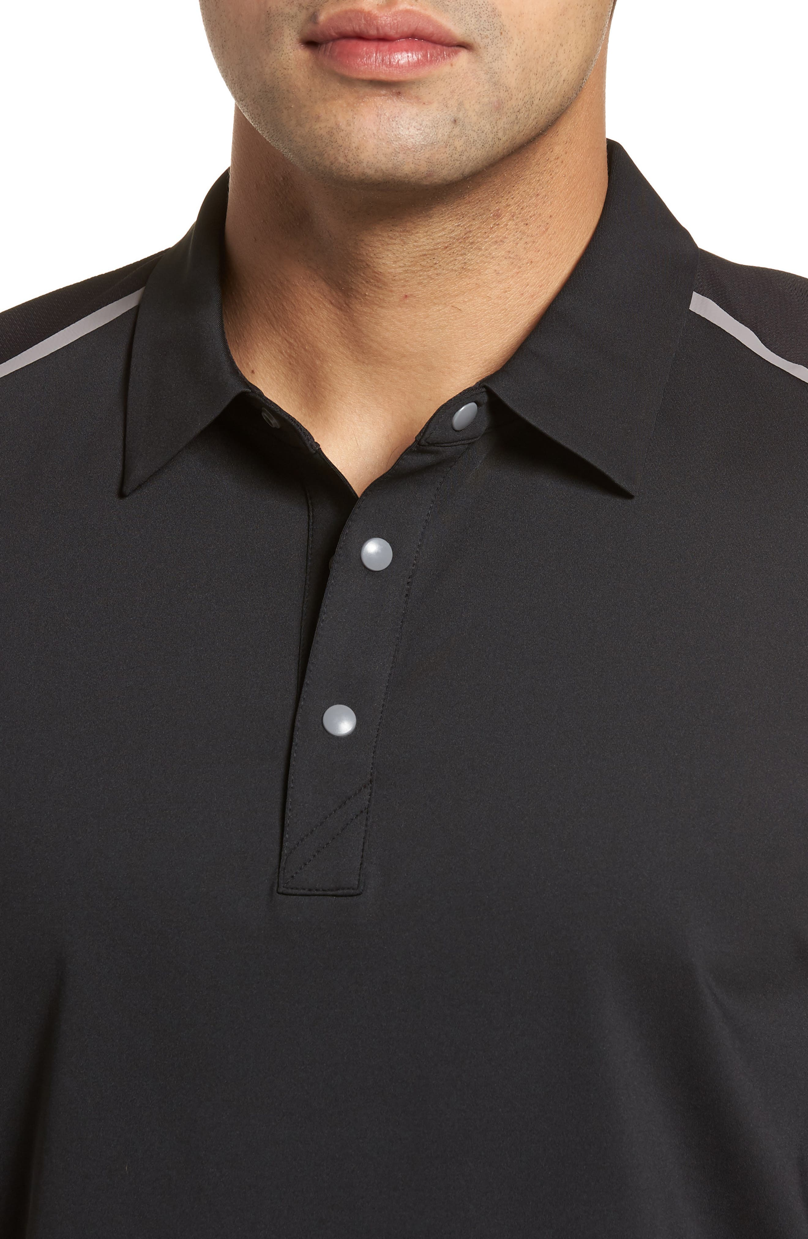 Fusion Classic Fit Polo,                             Alternate thumbnail 4, color,                             BLACK