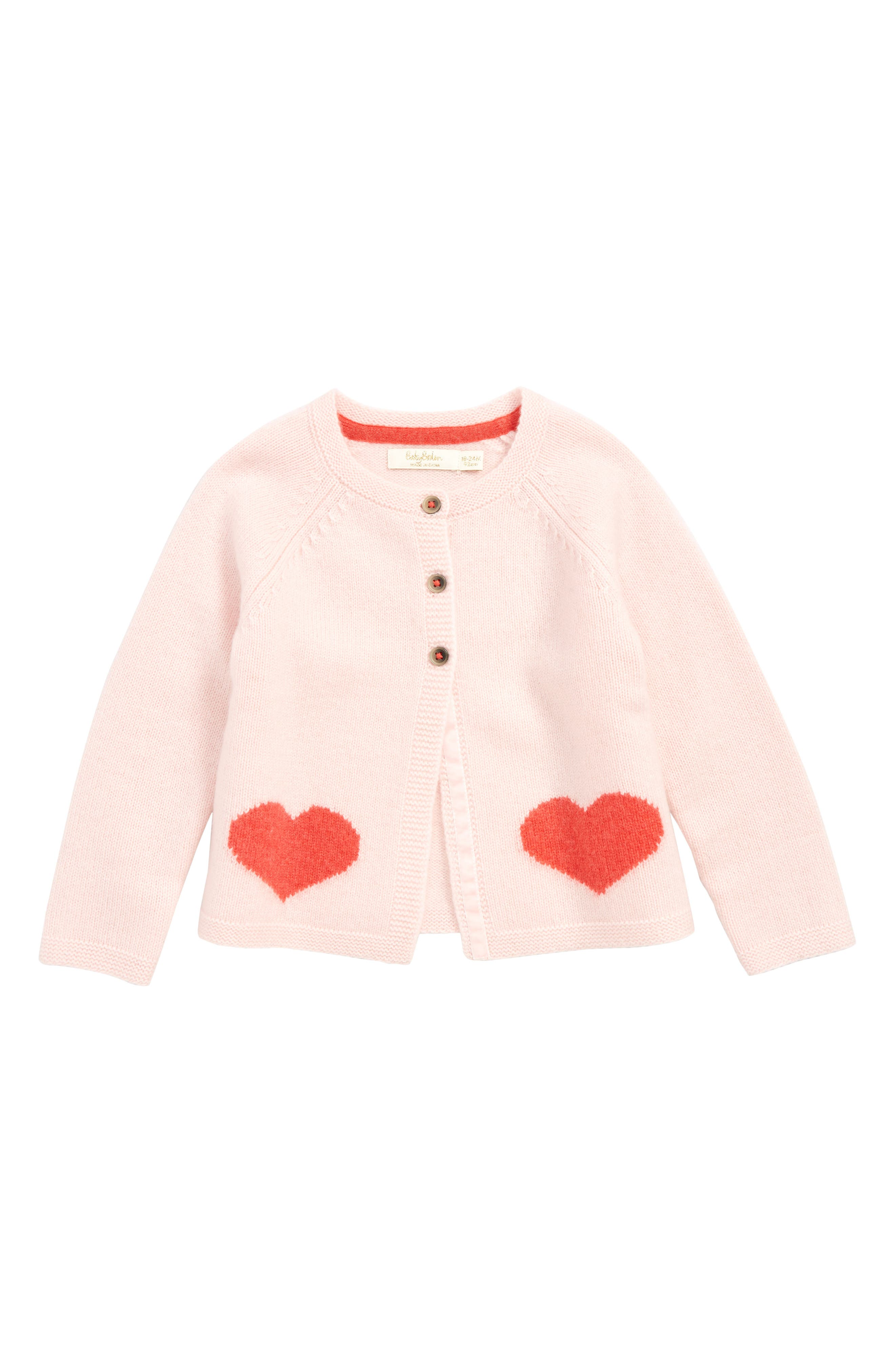 Cashmere Cardigan,                             Main thumbnail 1, color,                             PROVENCE DUSTY PINK HEARTS