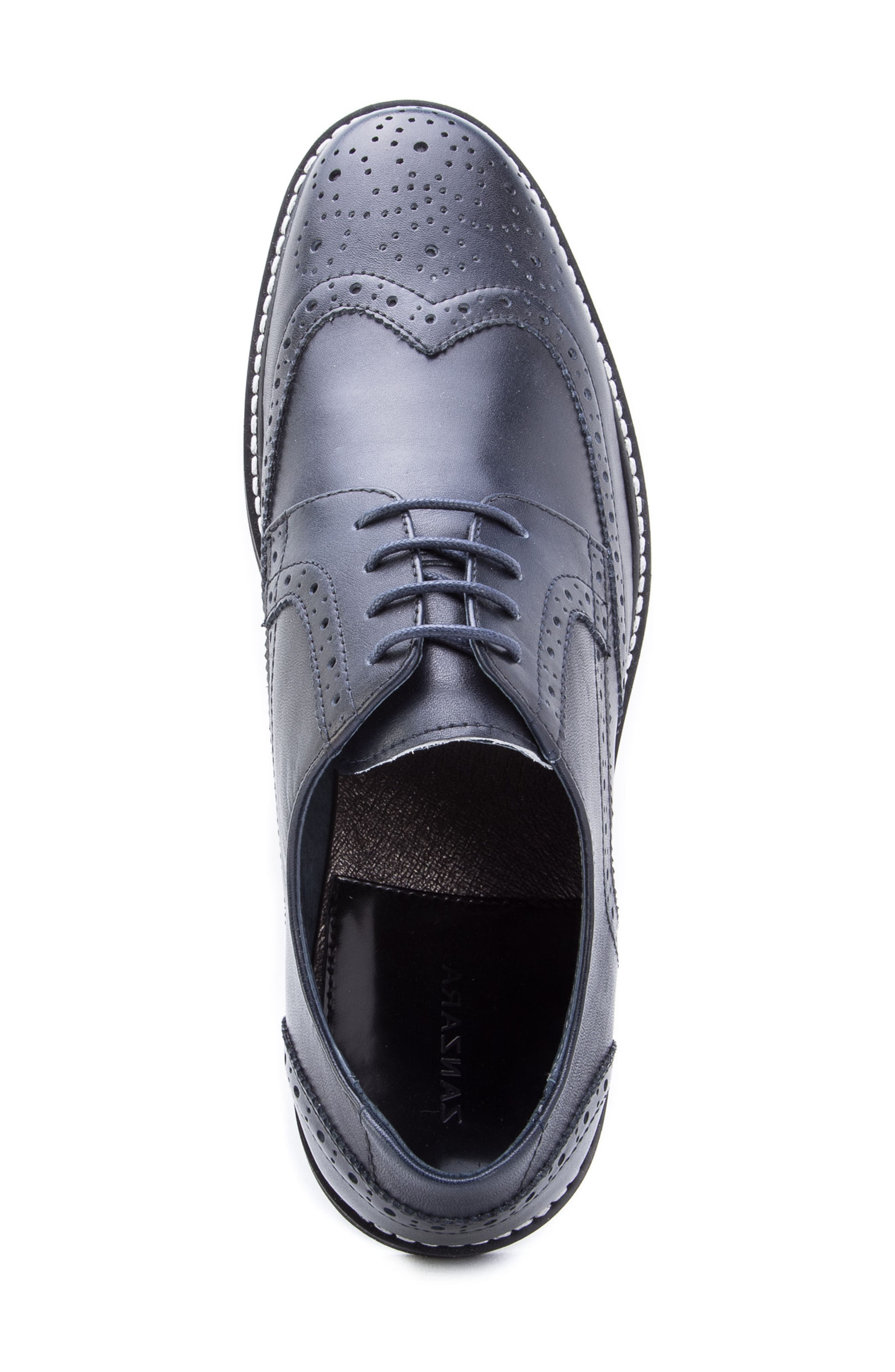 Siena Wingtip Derby,                             Alternate thumbnail 5, color,                             NAVY LEATHER