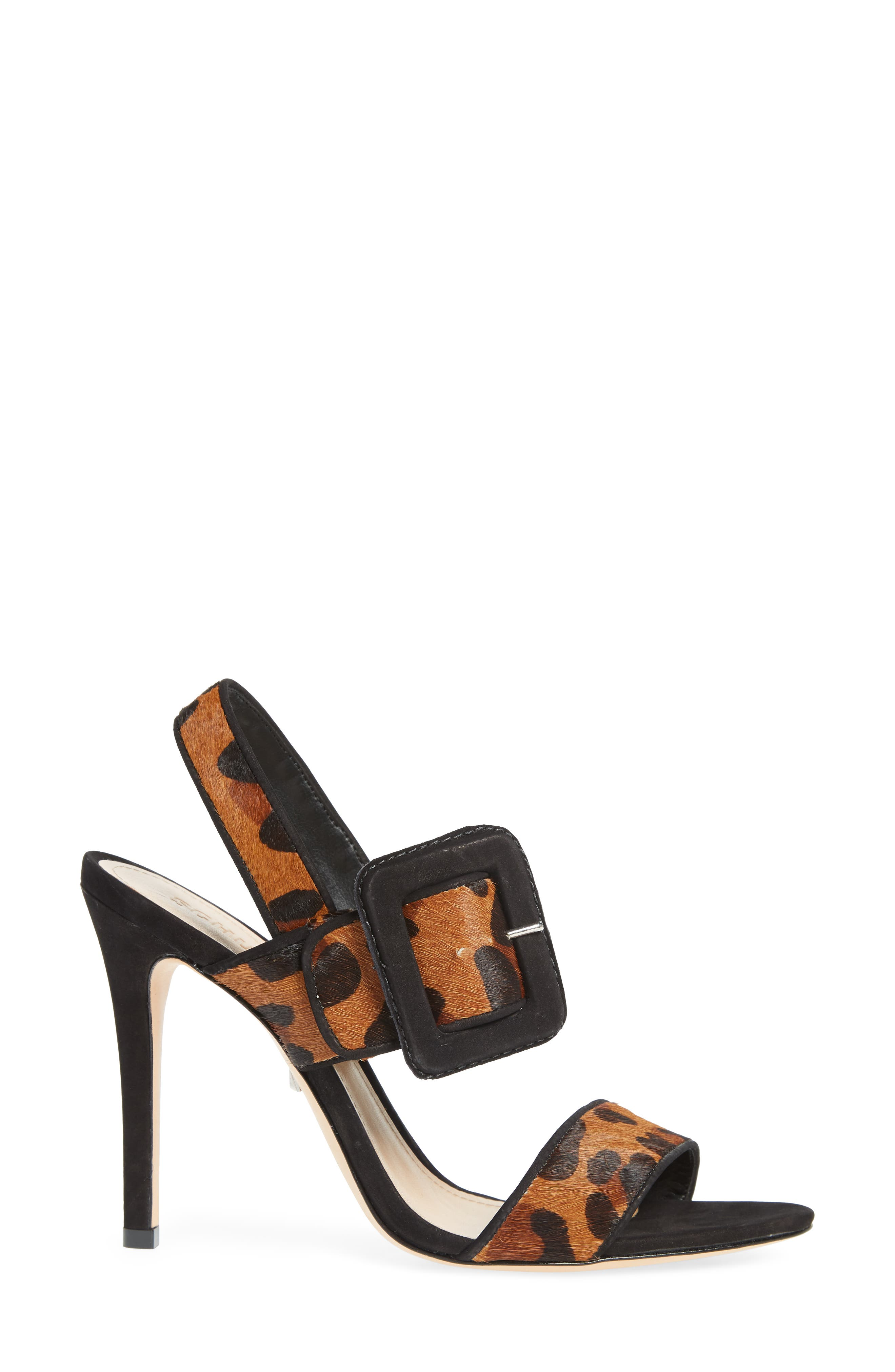 Lucci Genuine Calf Hair Sandal,                             Alternate thumbnail 3, color,                             NATURAL/ BLACK