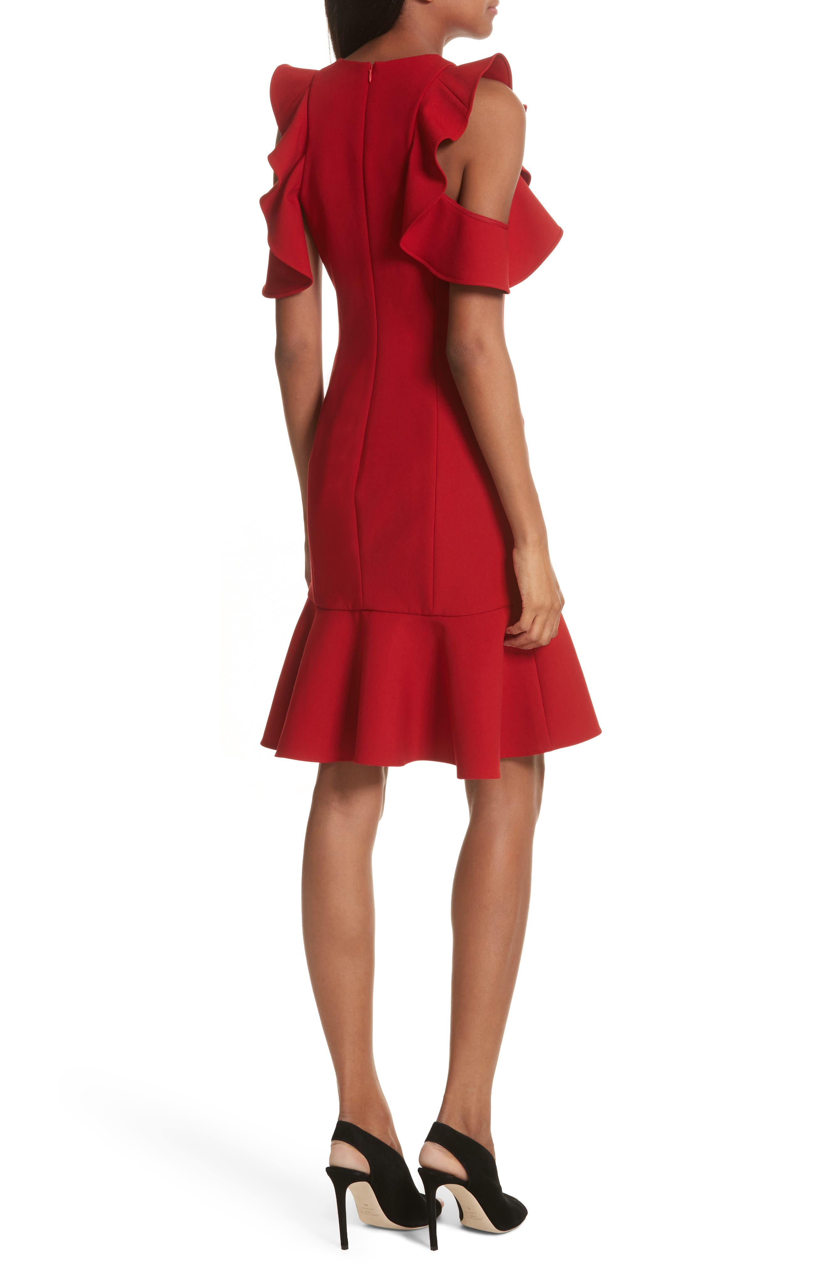 Micah Ruffle Cold Shoulder Dress,                             Alternate thumbnail 2, color,                             CARMINE