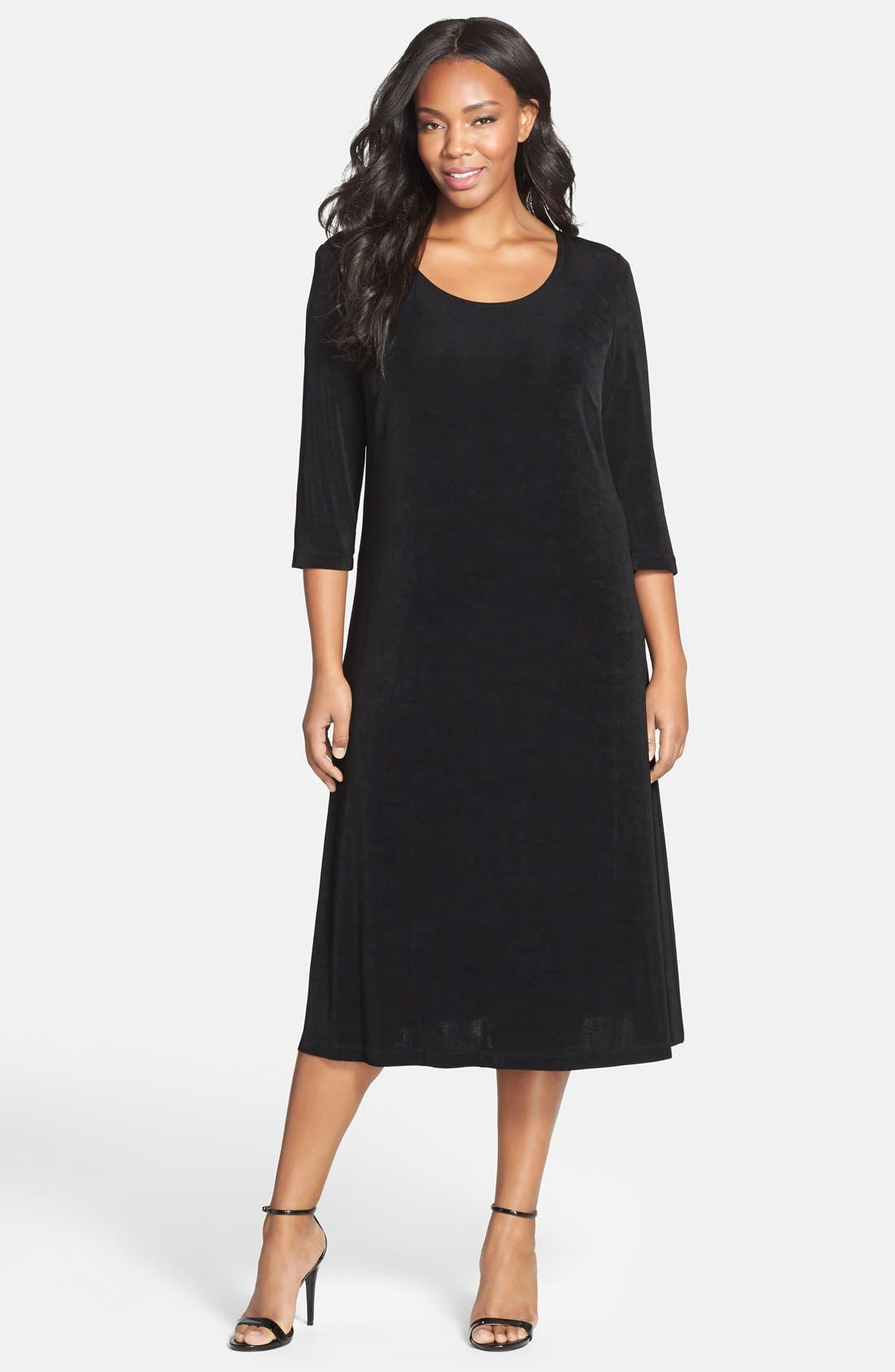 Three-Quarter Sleeve Stretch Knit A-Line Dress,                             Main thumbnail 1, color,                             BLACK