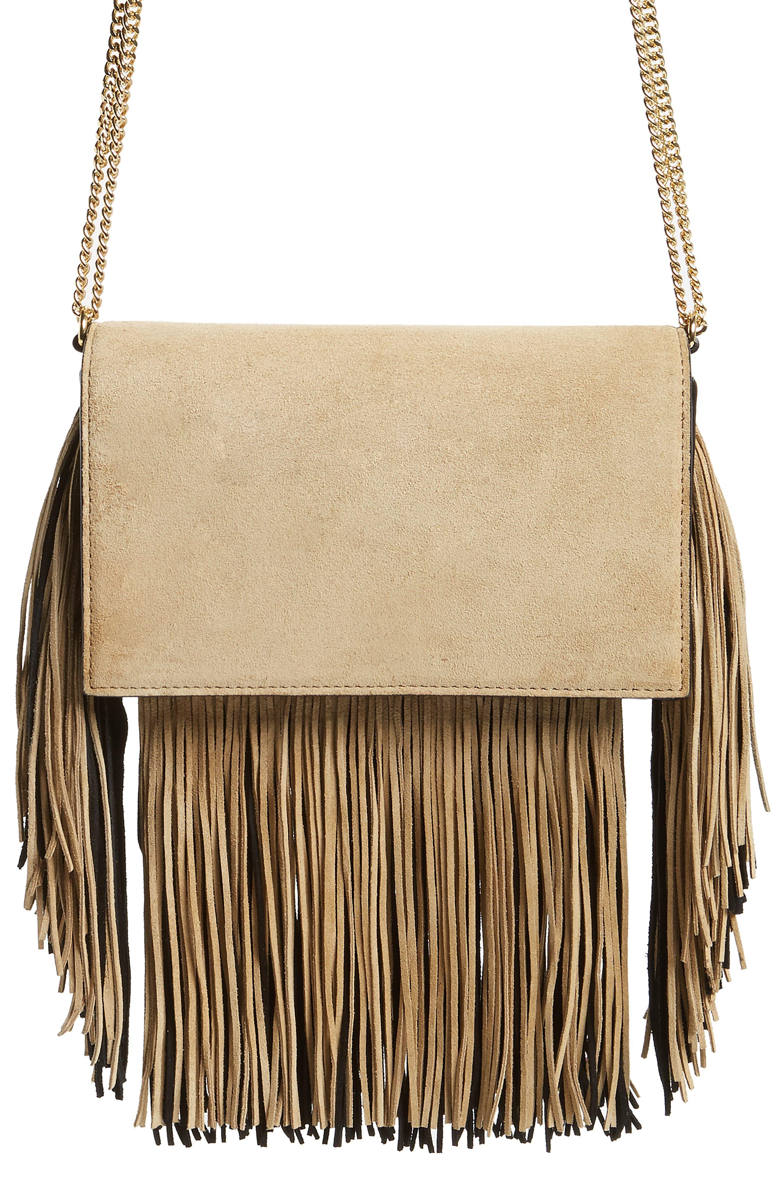 Fringe Soirée Suede Convertible Crossbody Bag,                         Main,                         color, 250