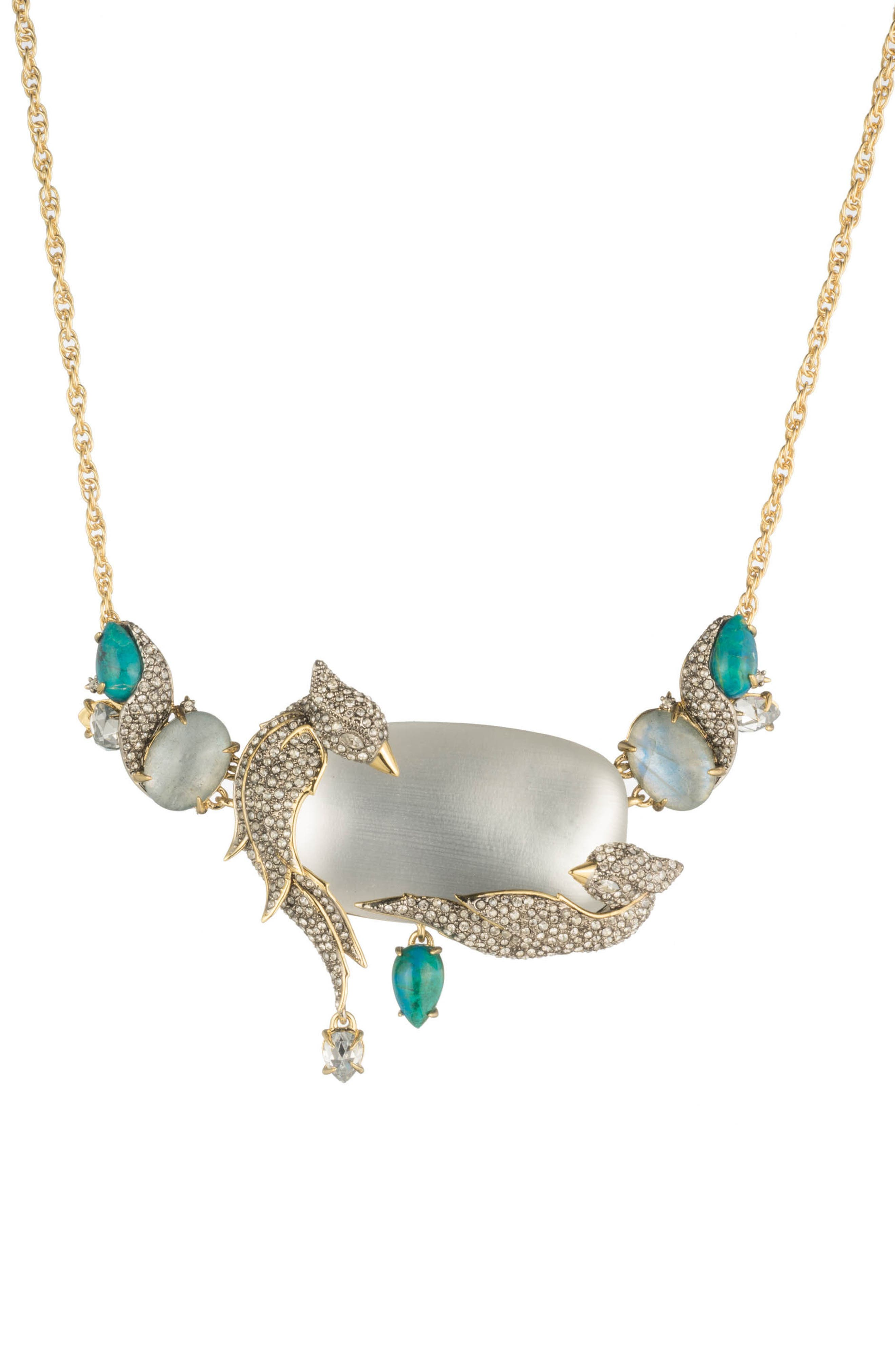 Love Bird Statement Necklace,                             Main thumbnail 1, color,                             SILVER