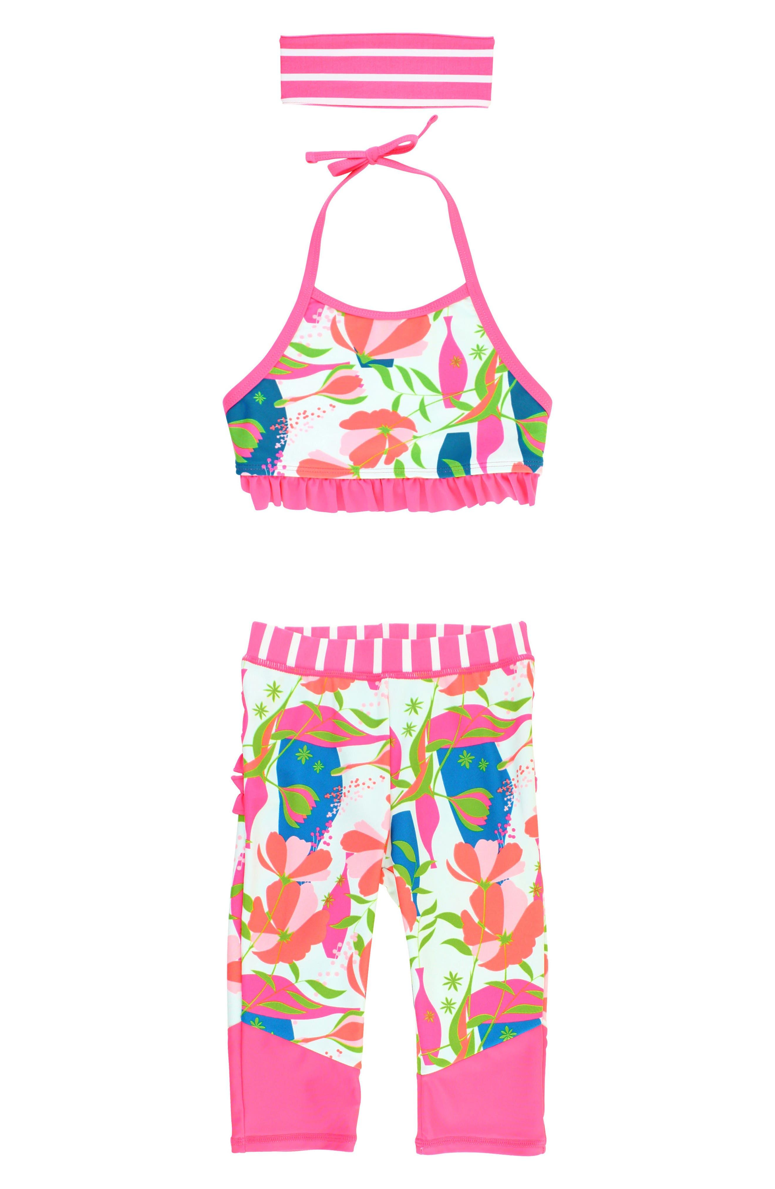 Stems Four-Piece Swimsuit & Rashguard Set,                             Main thumbnail 1, color,                             PINK