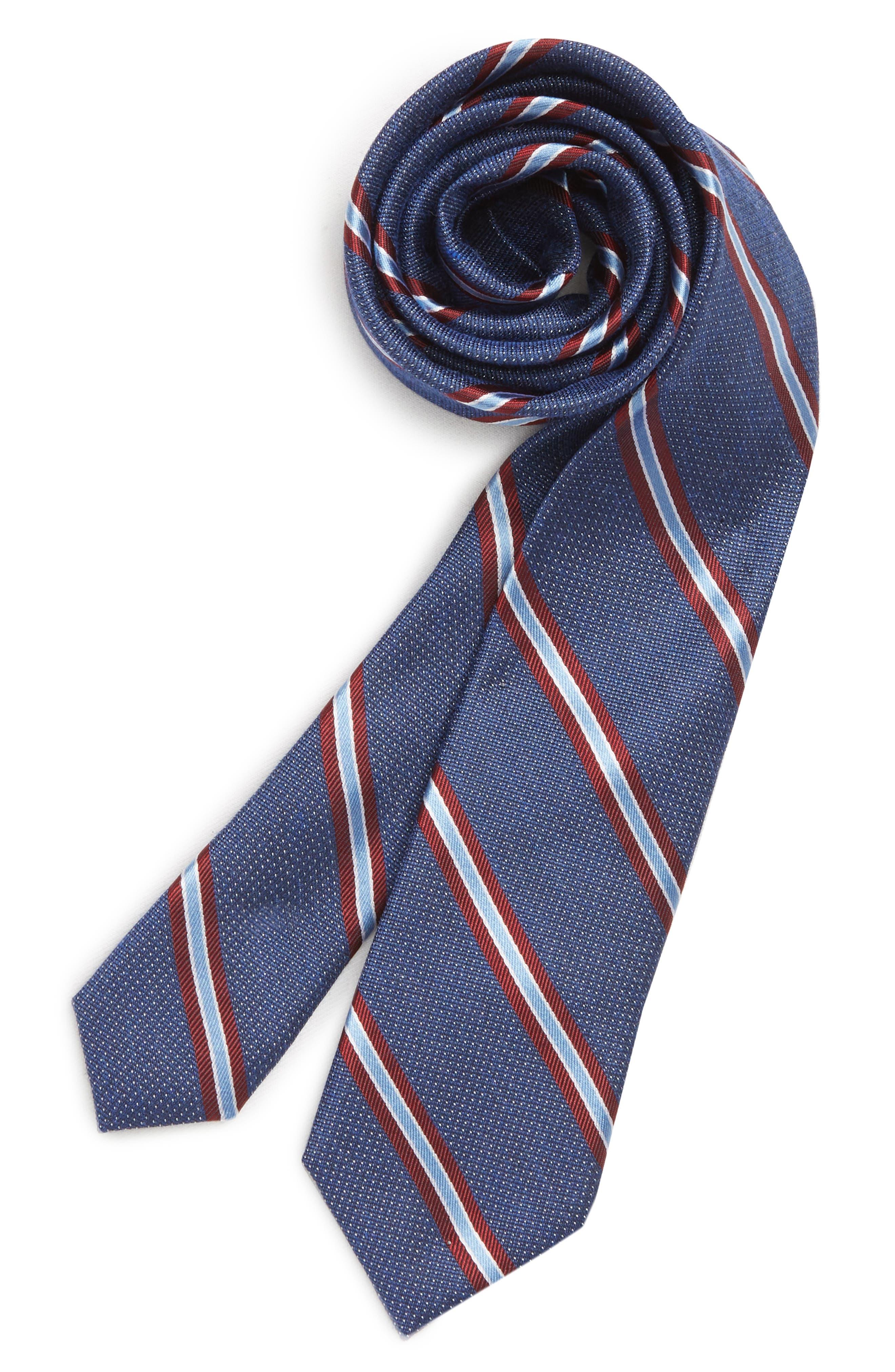 Stripe Silk Tie,                         Main,                         color, BLUE