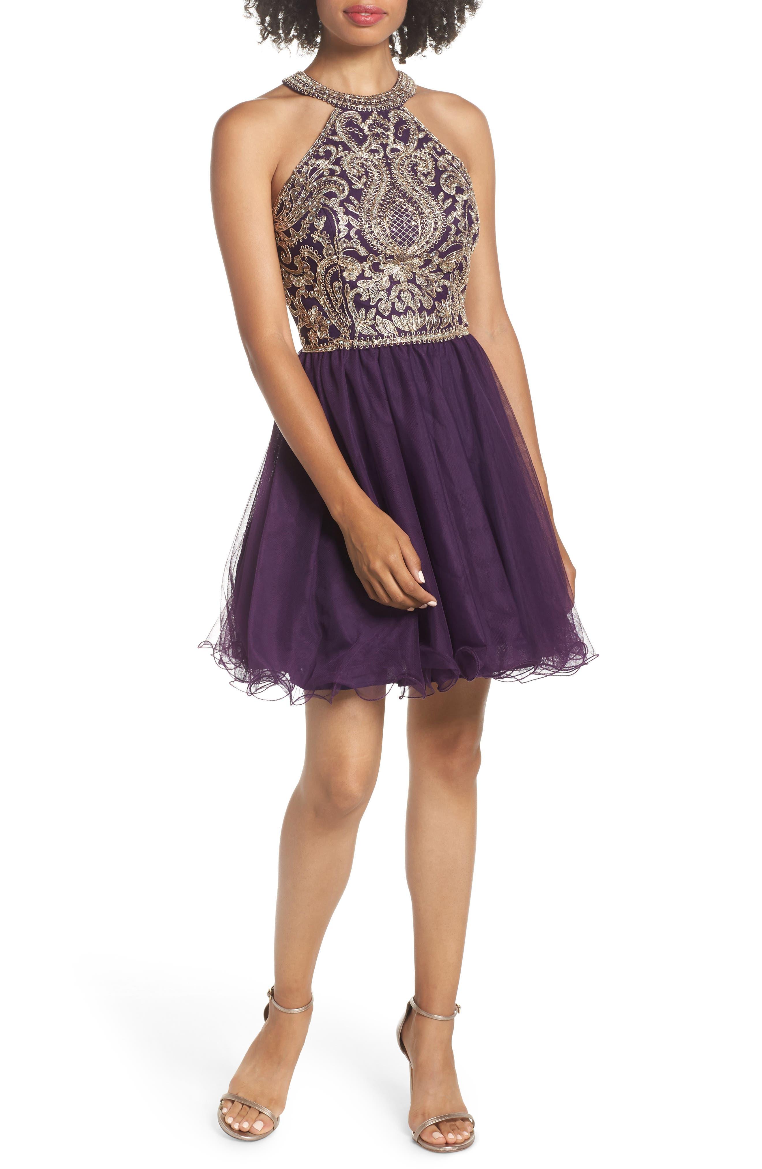 Blondie Nites High Neck Applique Fit & Flare Dress, Purple