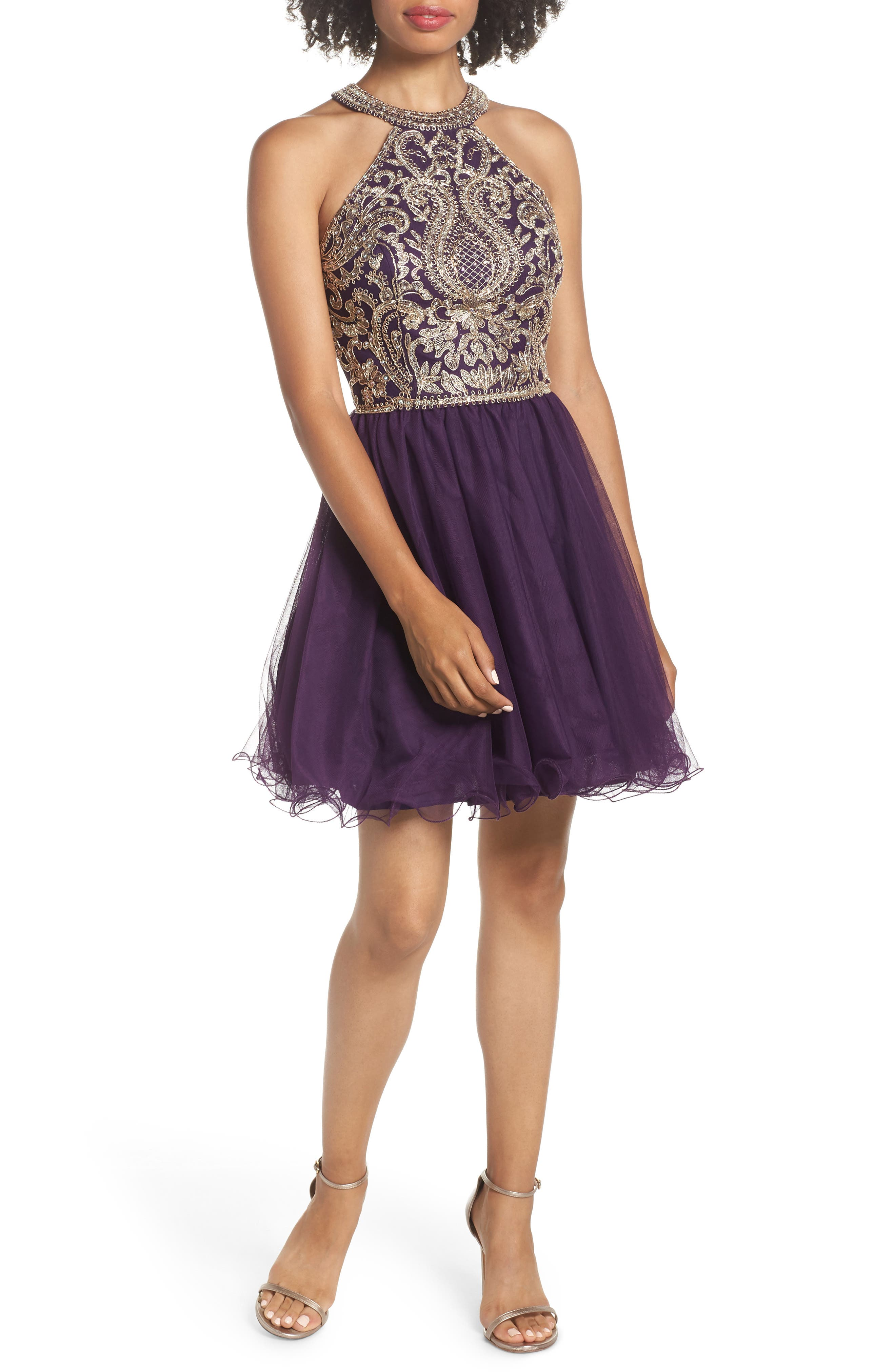 BLONDIE NITES,                             High Neck Appliqué Fit & Flare Dress,                             Main thumbnail 1, color,                             522