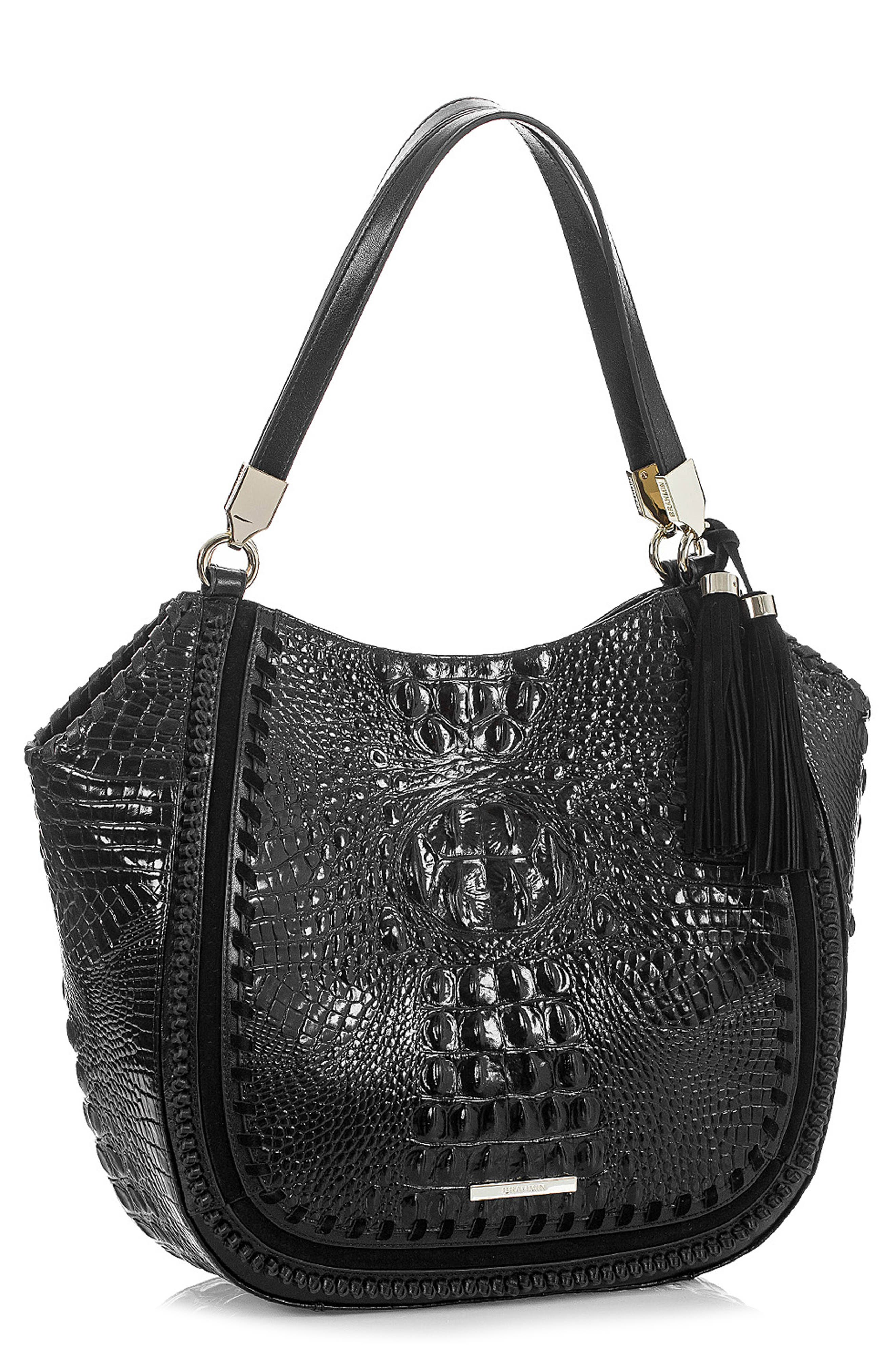Marianna Leather Tote,                             Alternate thumbnail 5, color,                             BLACK