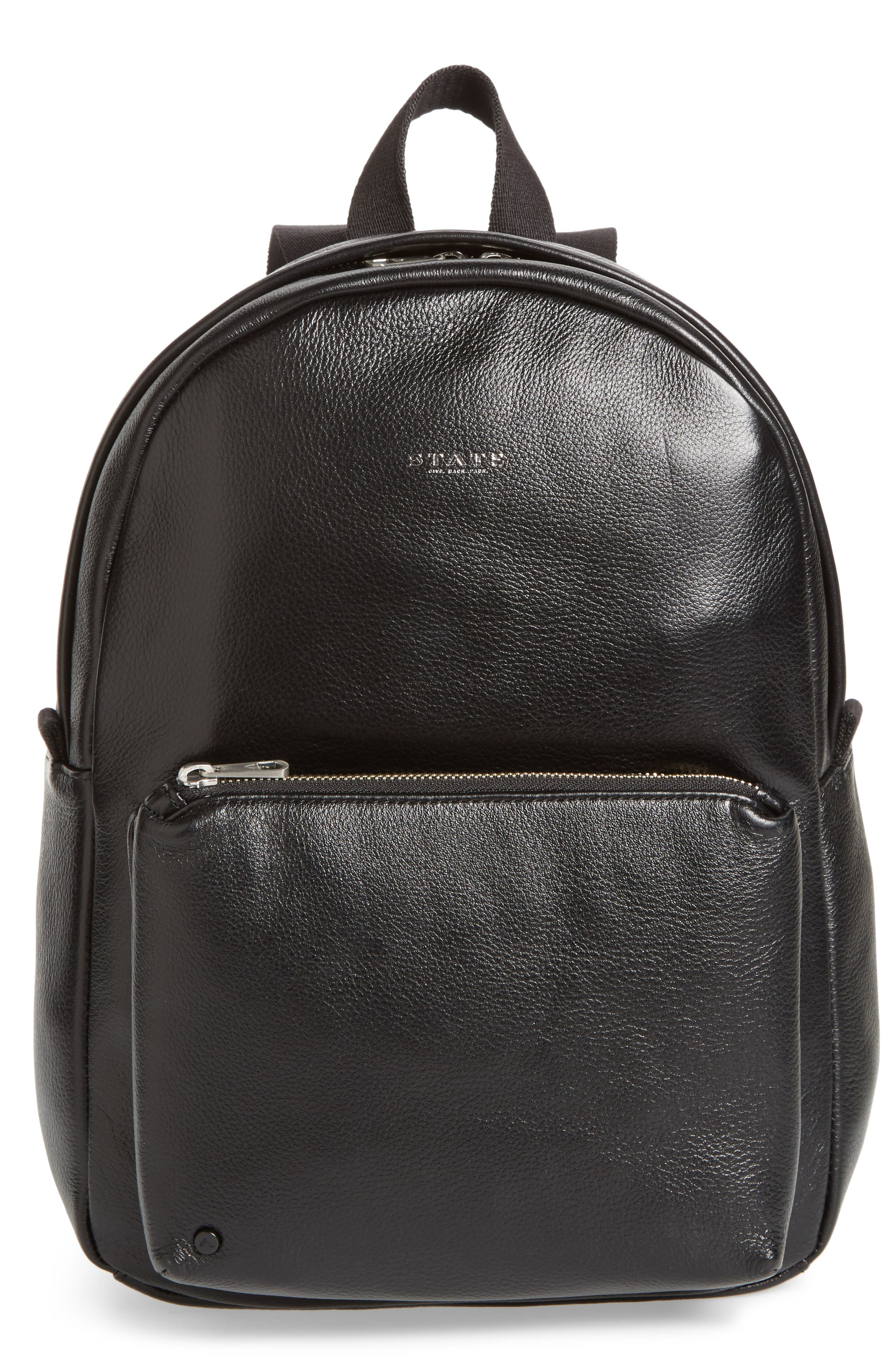 Greenwood Mini Lorimer Leather Backpack,                             Main thumbnail 1, color,                             001