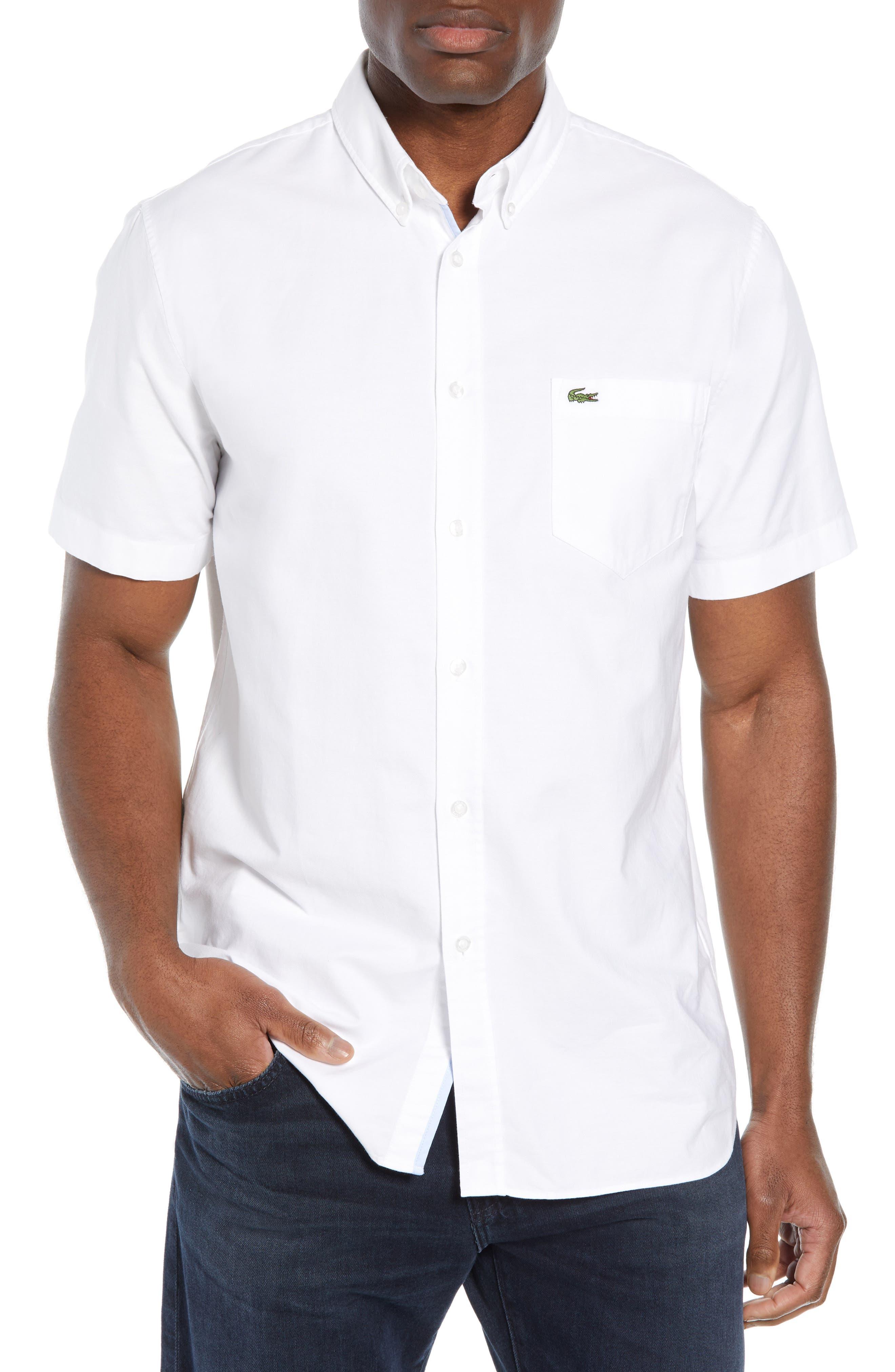 Regular Fit Short Sleeve Cotton Sport Shirt,                         Main,                         color, WHITE