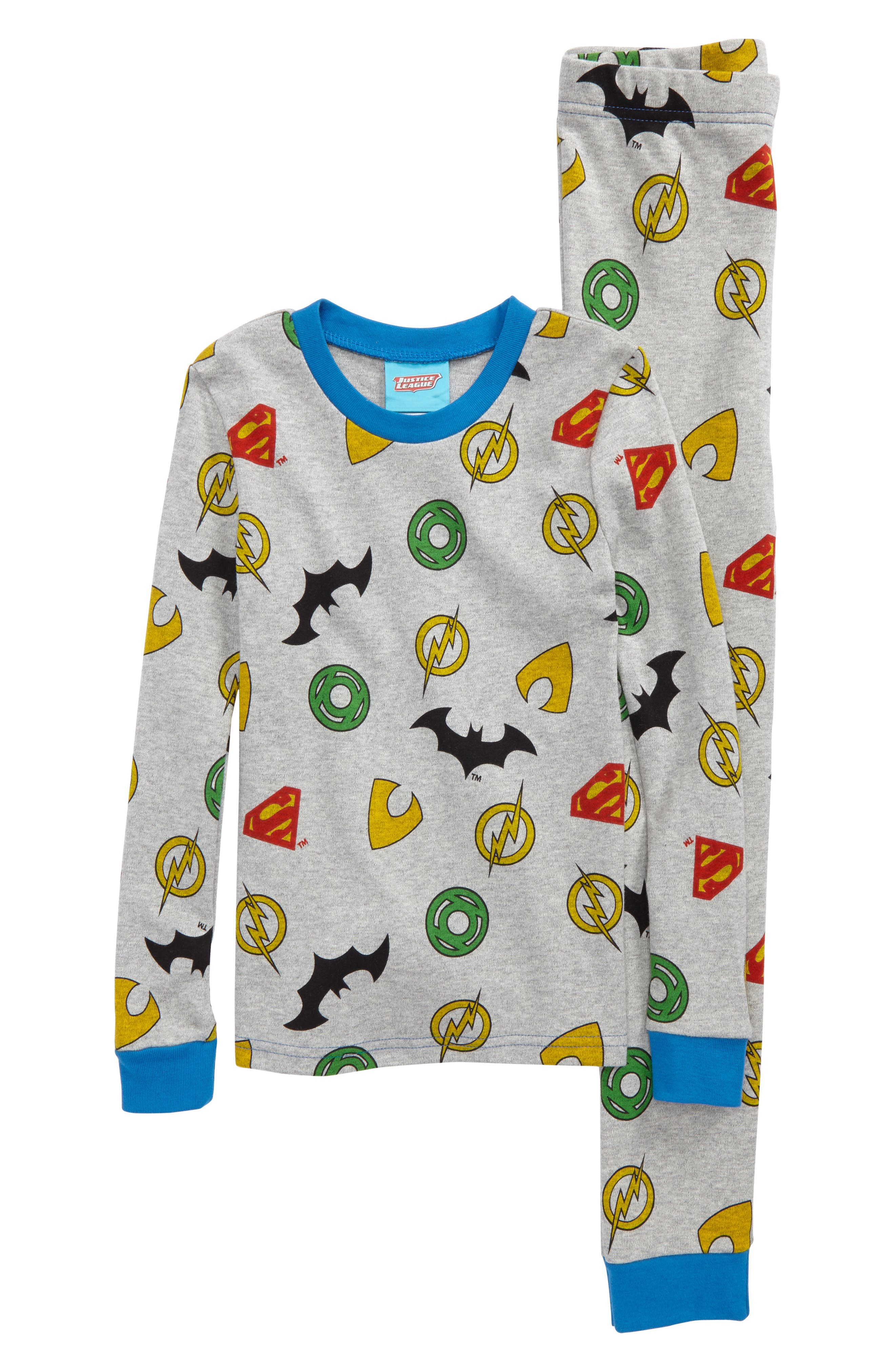 Justice League<sup>™</sup> Fitted Two-Piece Pajamas,                         Main,                         color,